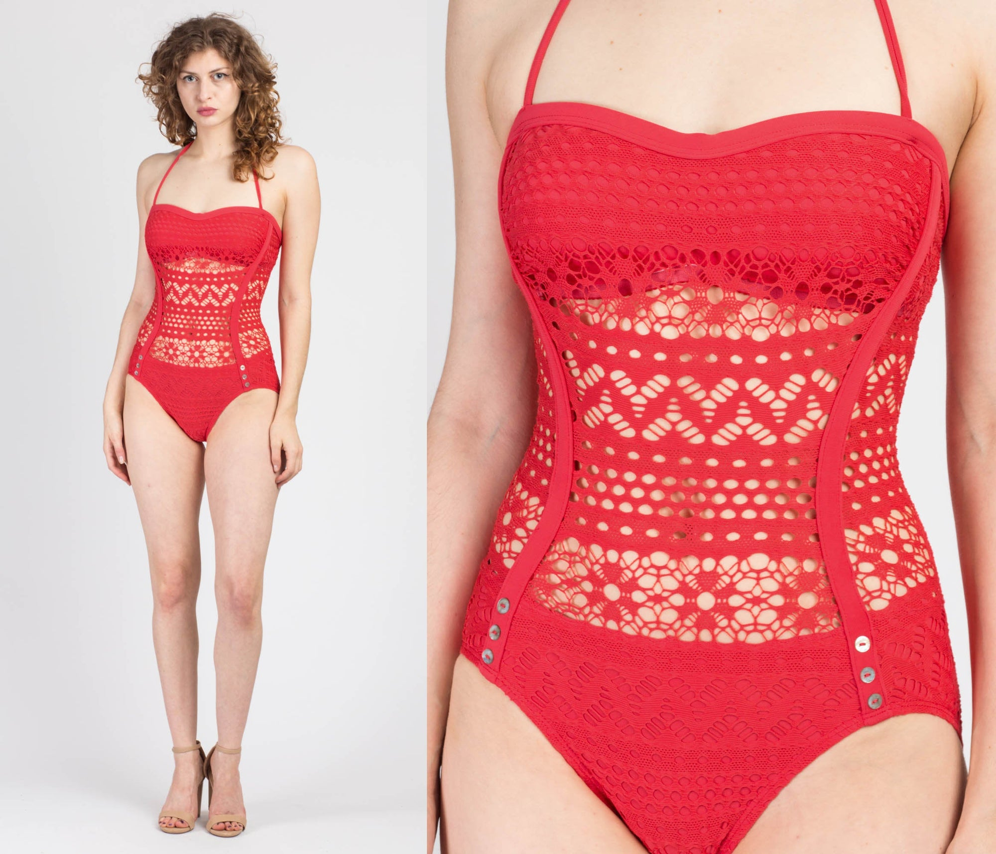 Vintage Robin Piccone Red Crochet One Piece Swimsuit - Medium