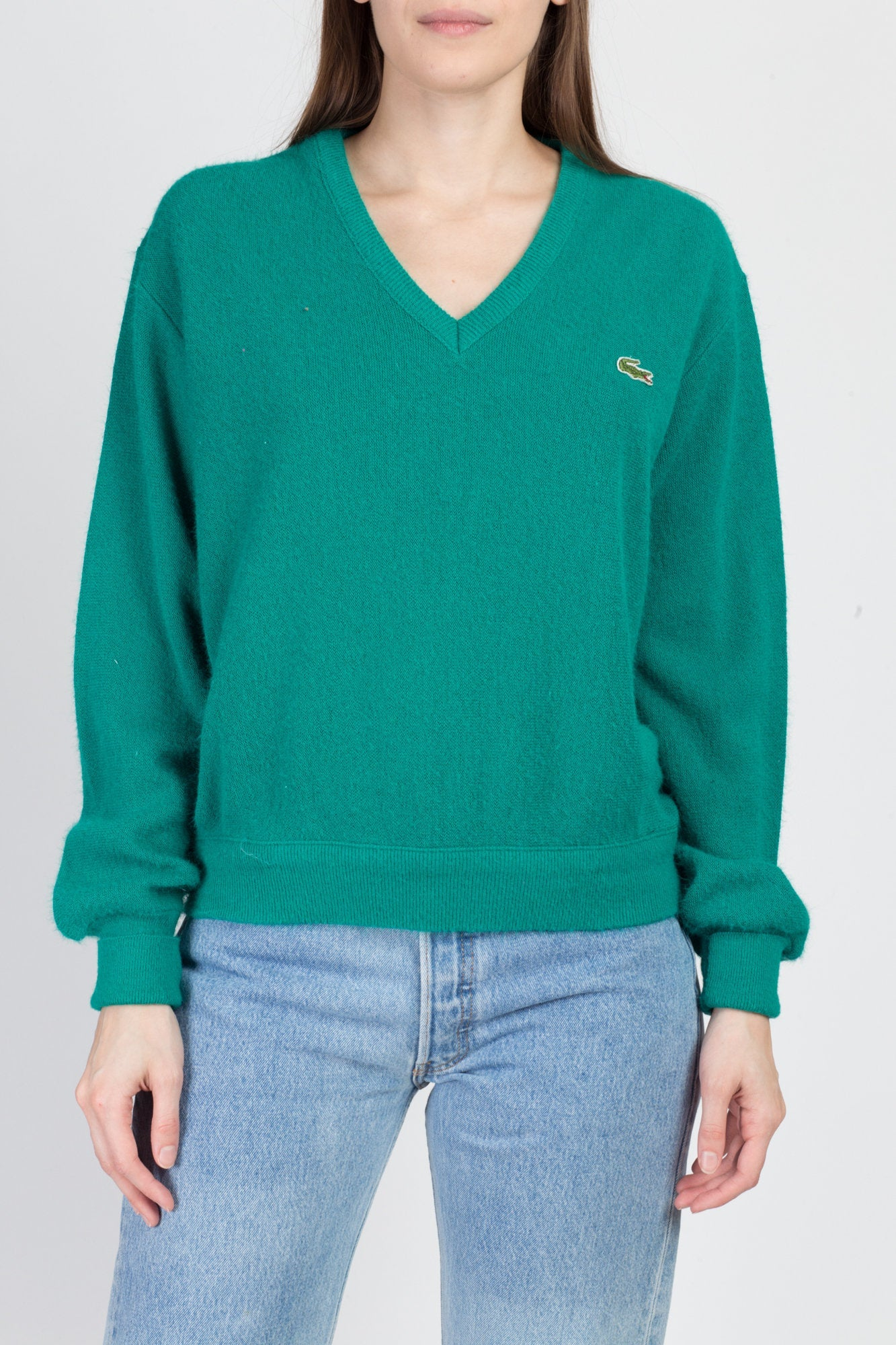 70s 80s Teal Green Lacoste Sweater - Men's Medium