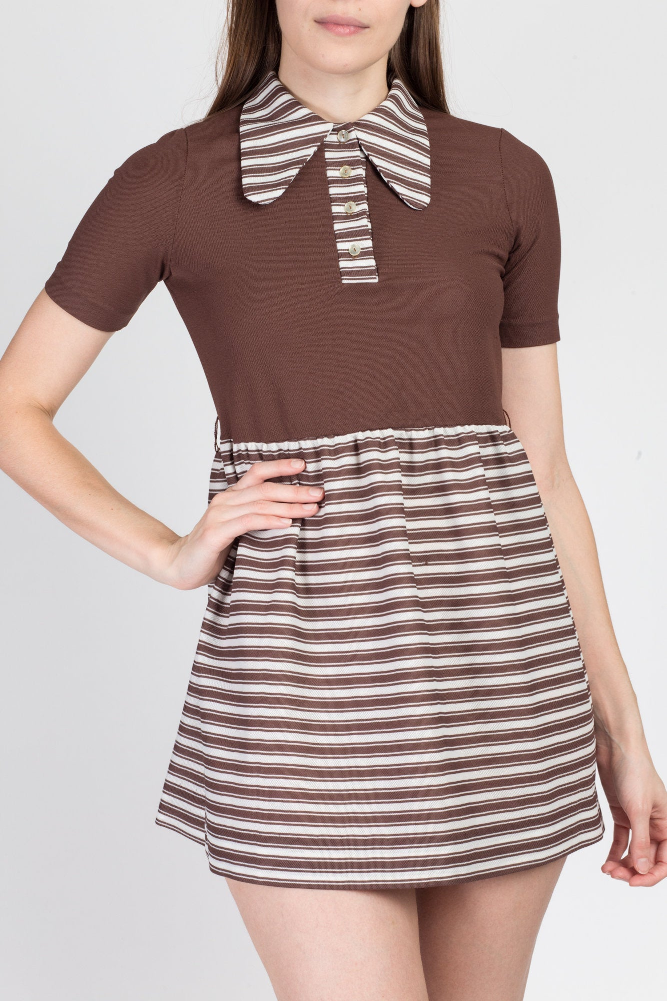 70s Striped Mod Mini Babydoll Dress - XXS