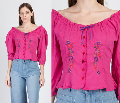 70s Embroidered Pink Cotton Puff Sleeve Prairie Blouse - Small