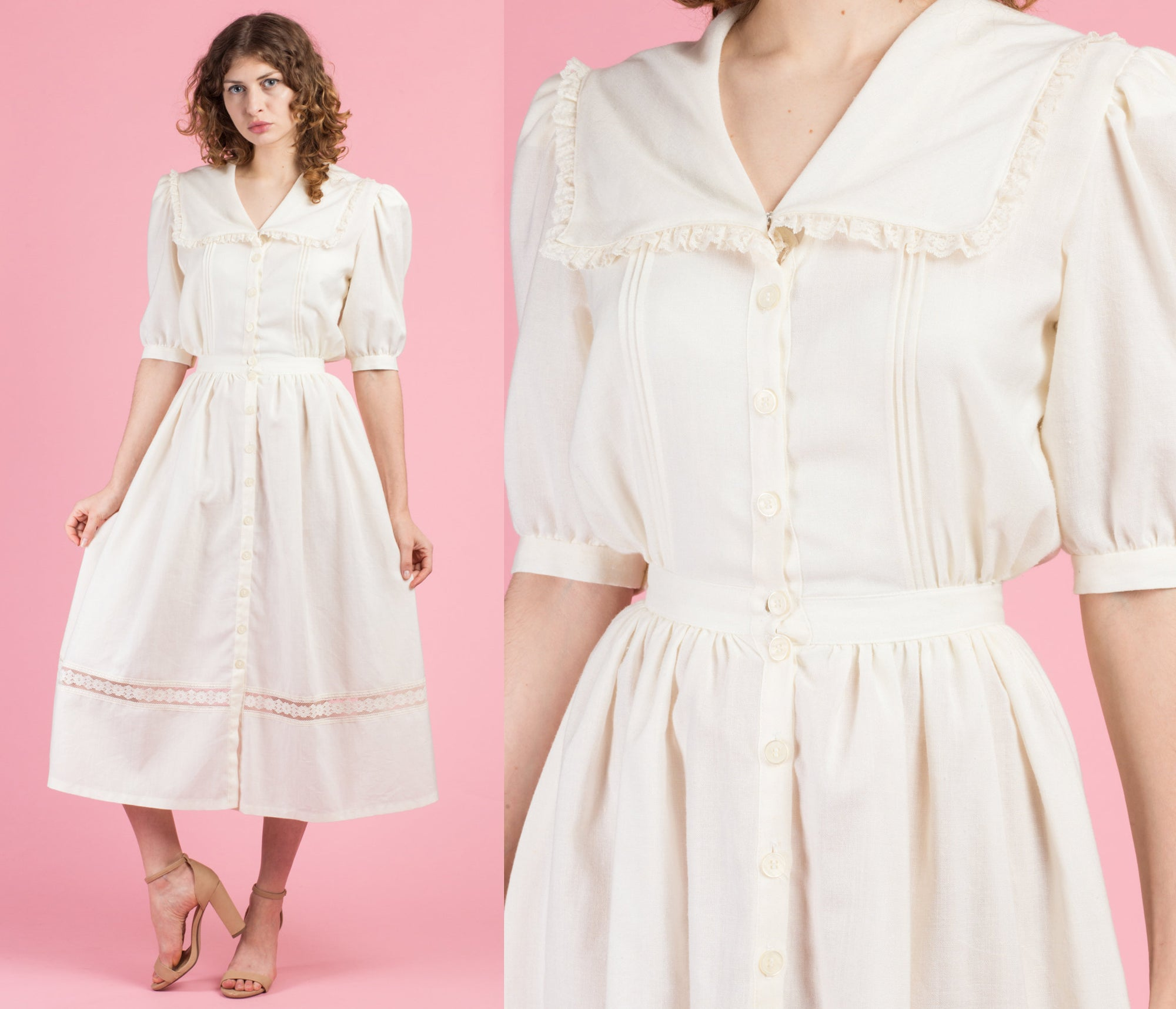 70s Ivory Sailor Collar Dress - Extra Small