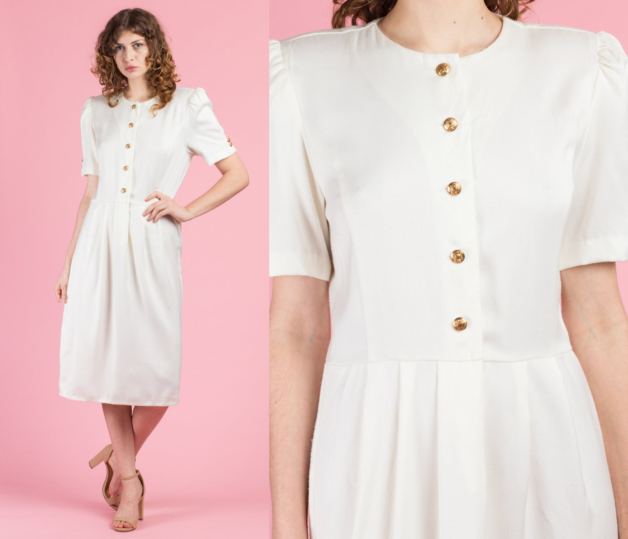 80s Minimalist White Midi Dress - Medium