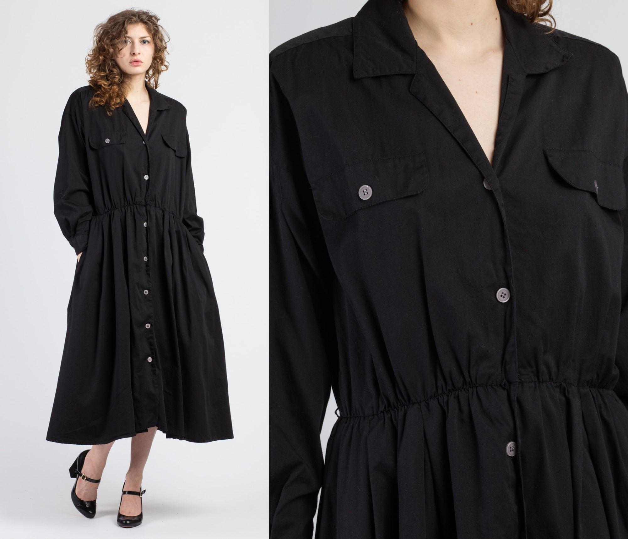 80s Black Cotton Midi Shirtdress - Extra Large