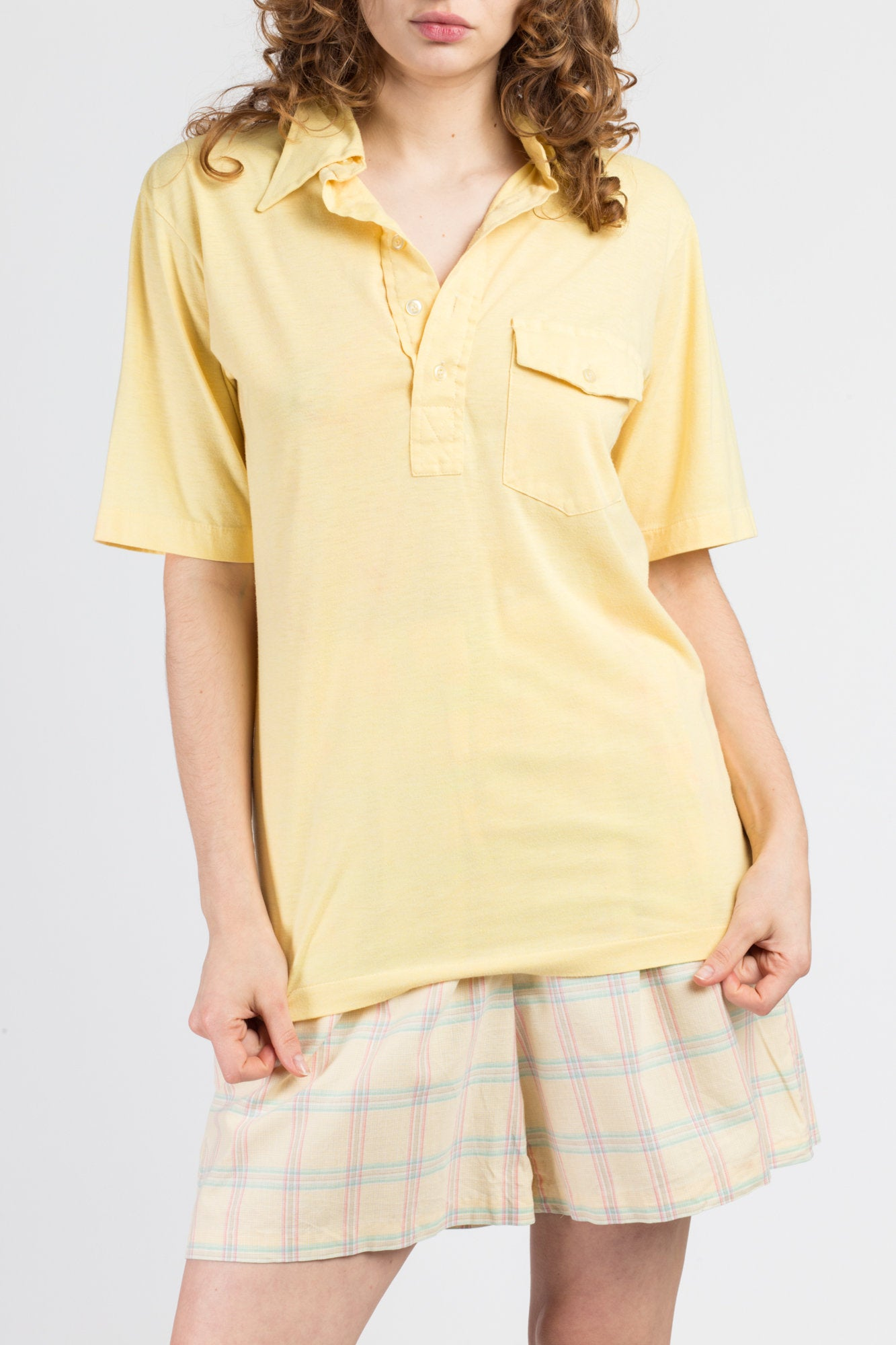 80s Yellow Polo Shirt - Men's Medium