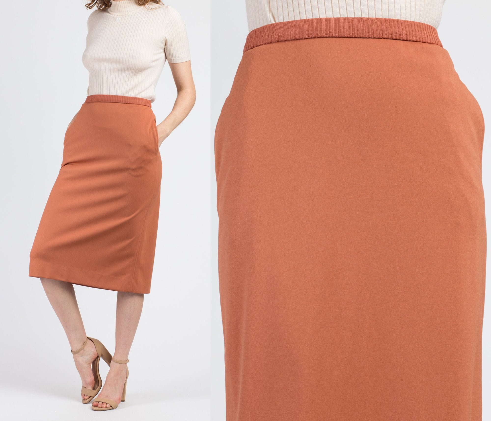 Vintage Givenchy Sport Minimalist Burnt Sienna Skirt - Small