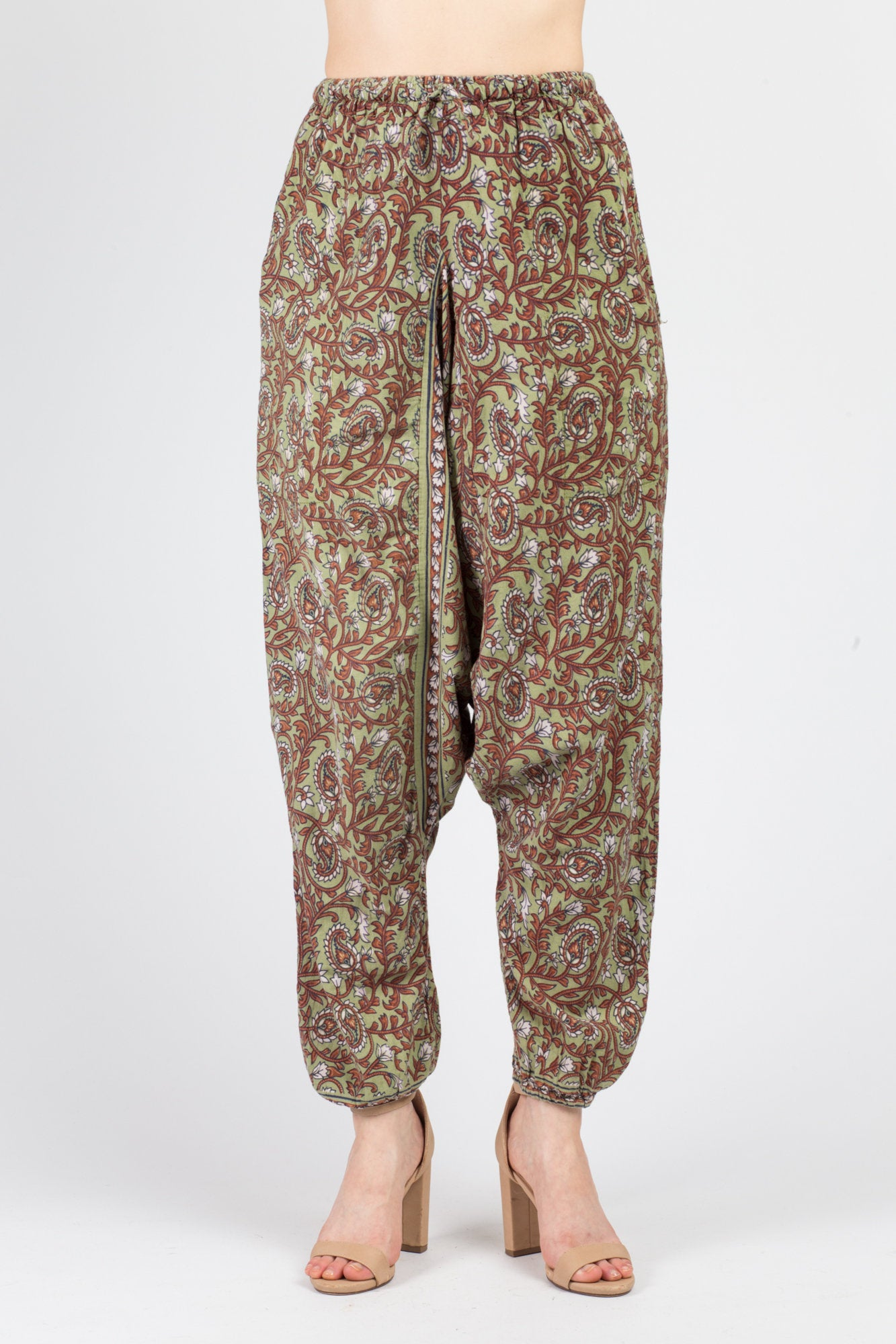 90s Boho Floral Harem Pants - Medium