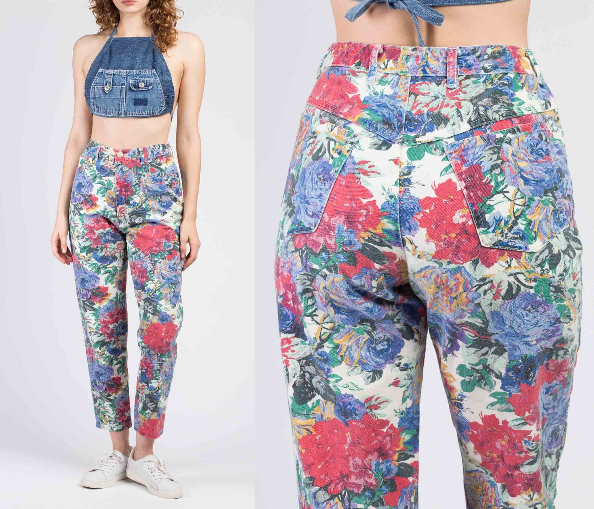 90s Colorful Floral Denim Jeans - Small