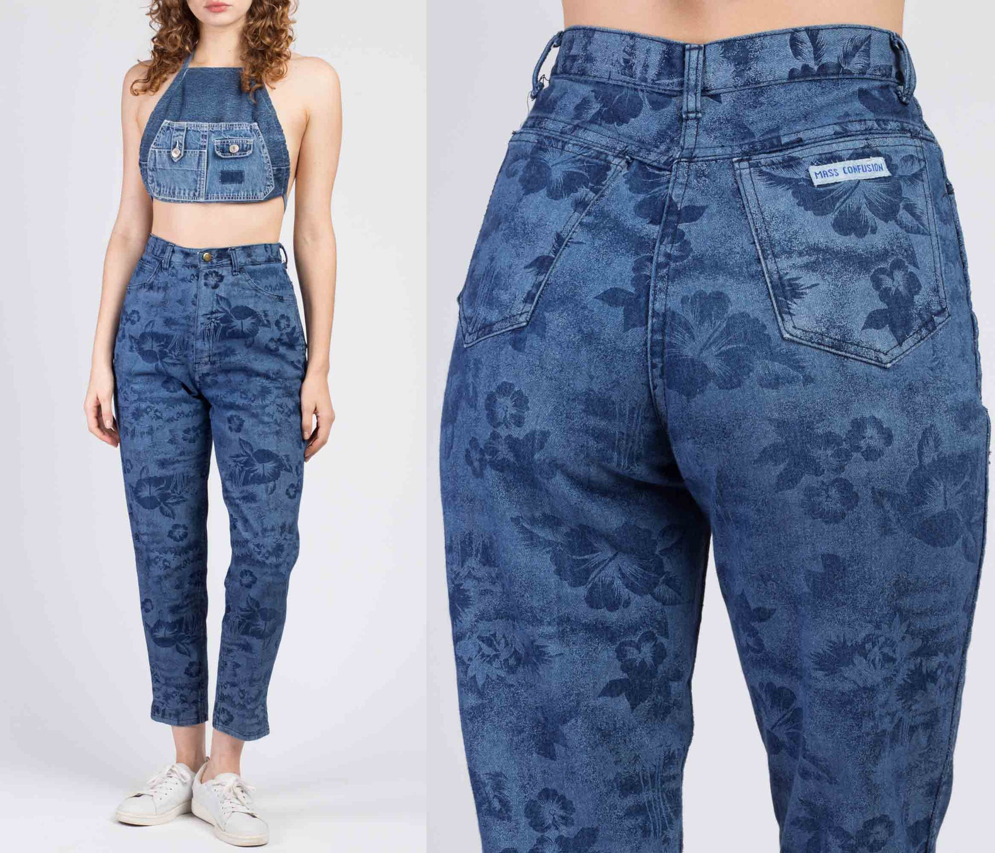 90s Mass Confusion Floral Denim Jeans - Small