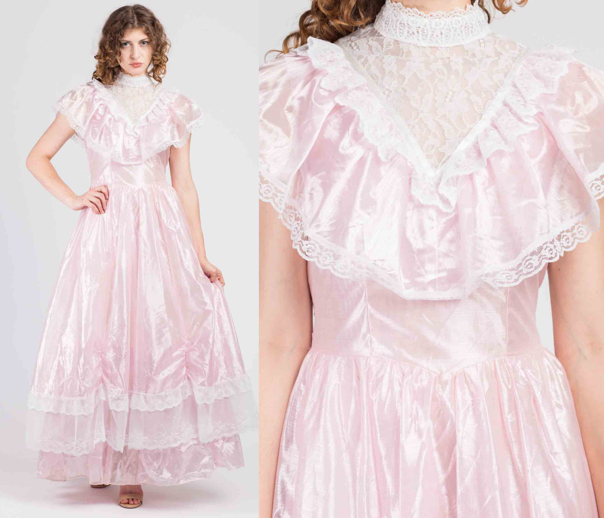 70s Precious Moments Pink Lace Princess Gown - Medium