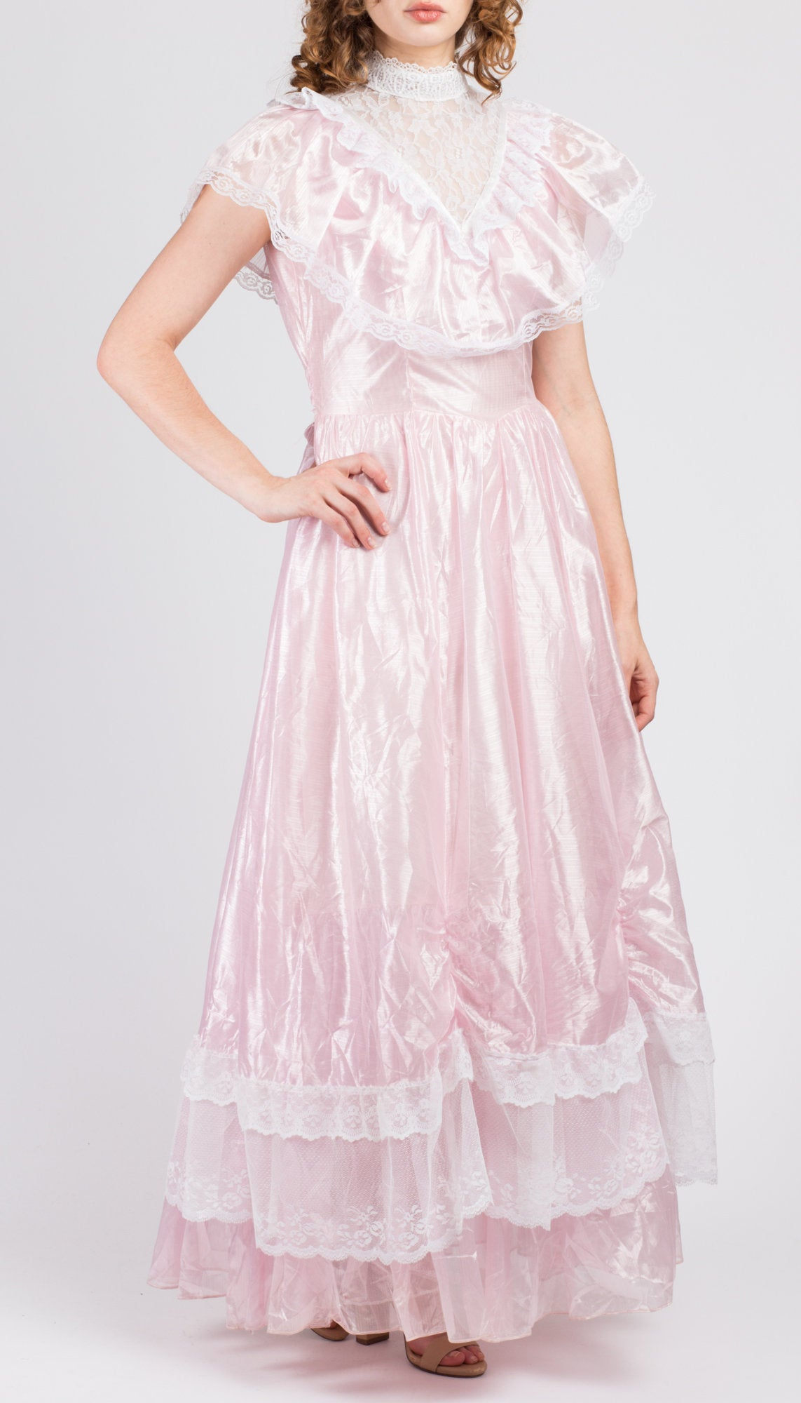 70s Precious Moments Pink Lace Princess Gown Medium Vintage Tiered Ruffle Formal Victorian Maxi Floor Length Dress
