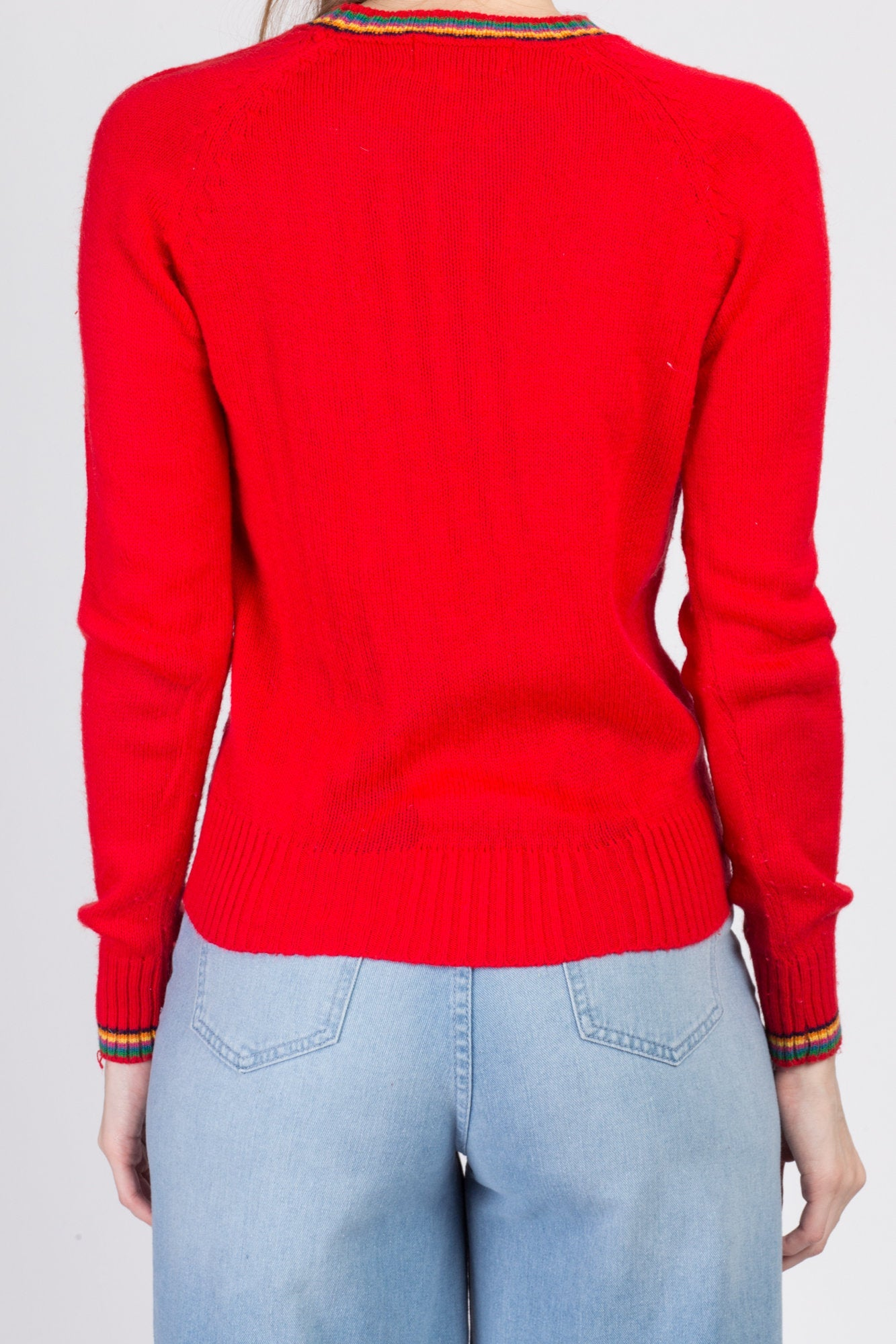 70s Red Rainbow Trim Sweater - Small