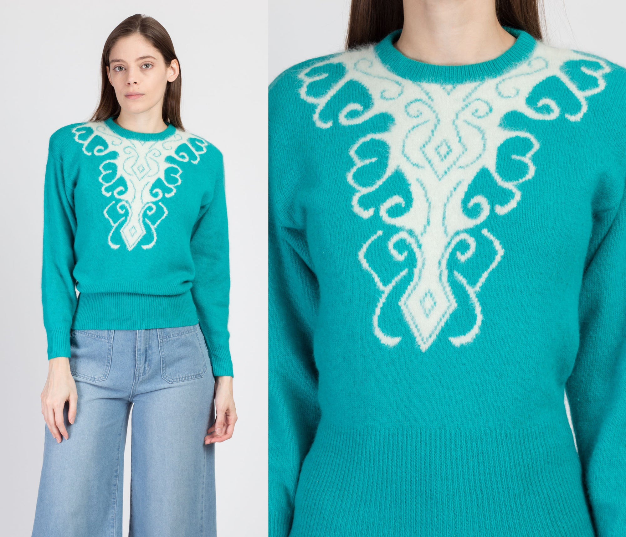 80s Turquoise Angora Sweater - Small