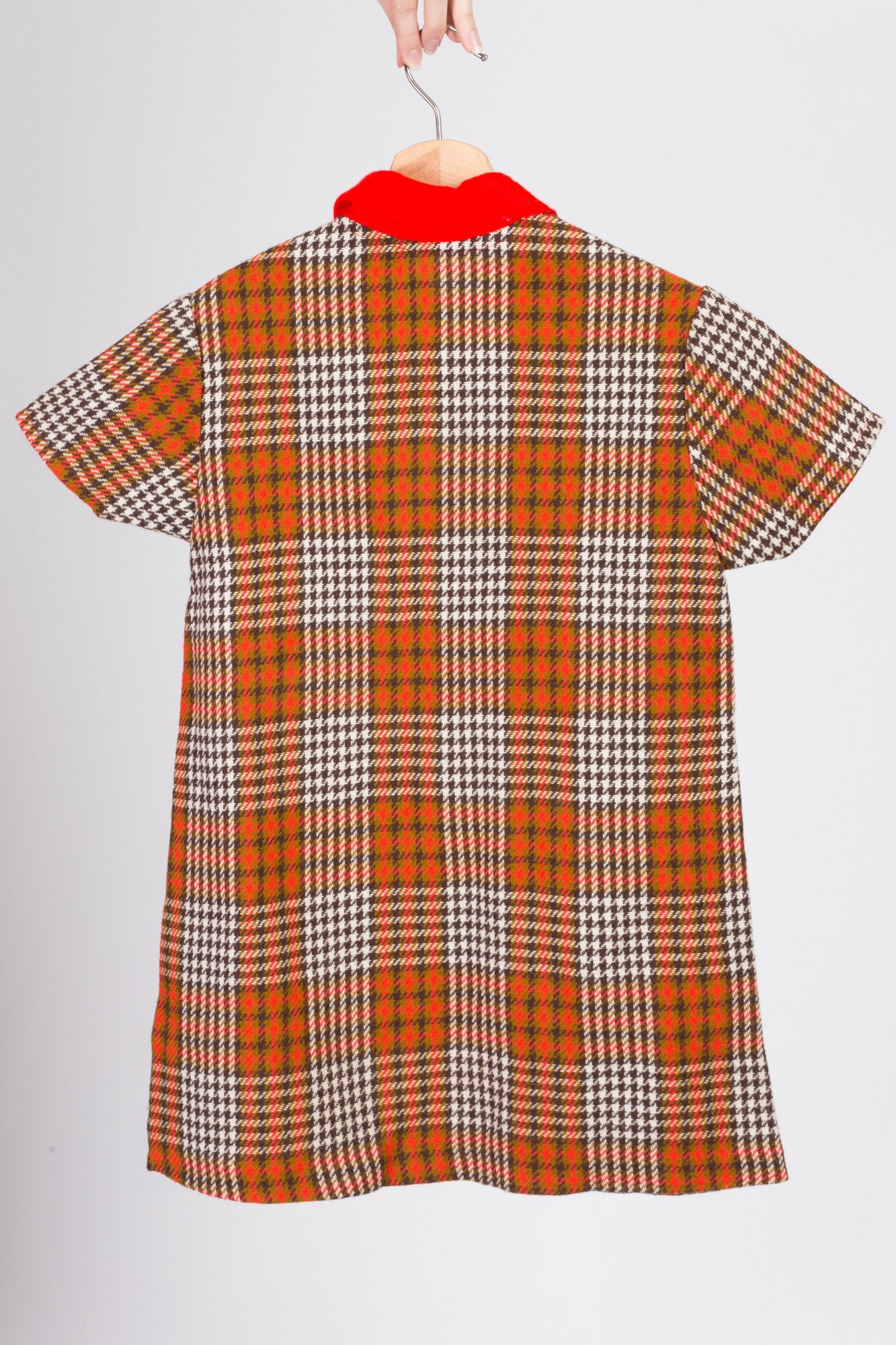 60s 70s Plaid Shift Dress - Girl's Large