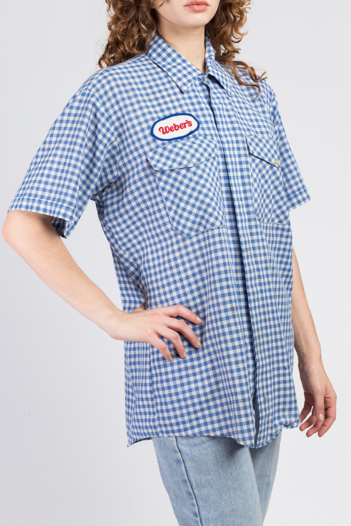 70s Gingham Button Up Workwear Shirt - Men's Large