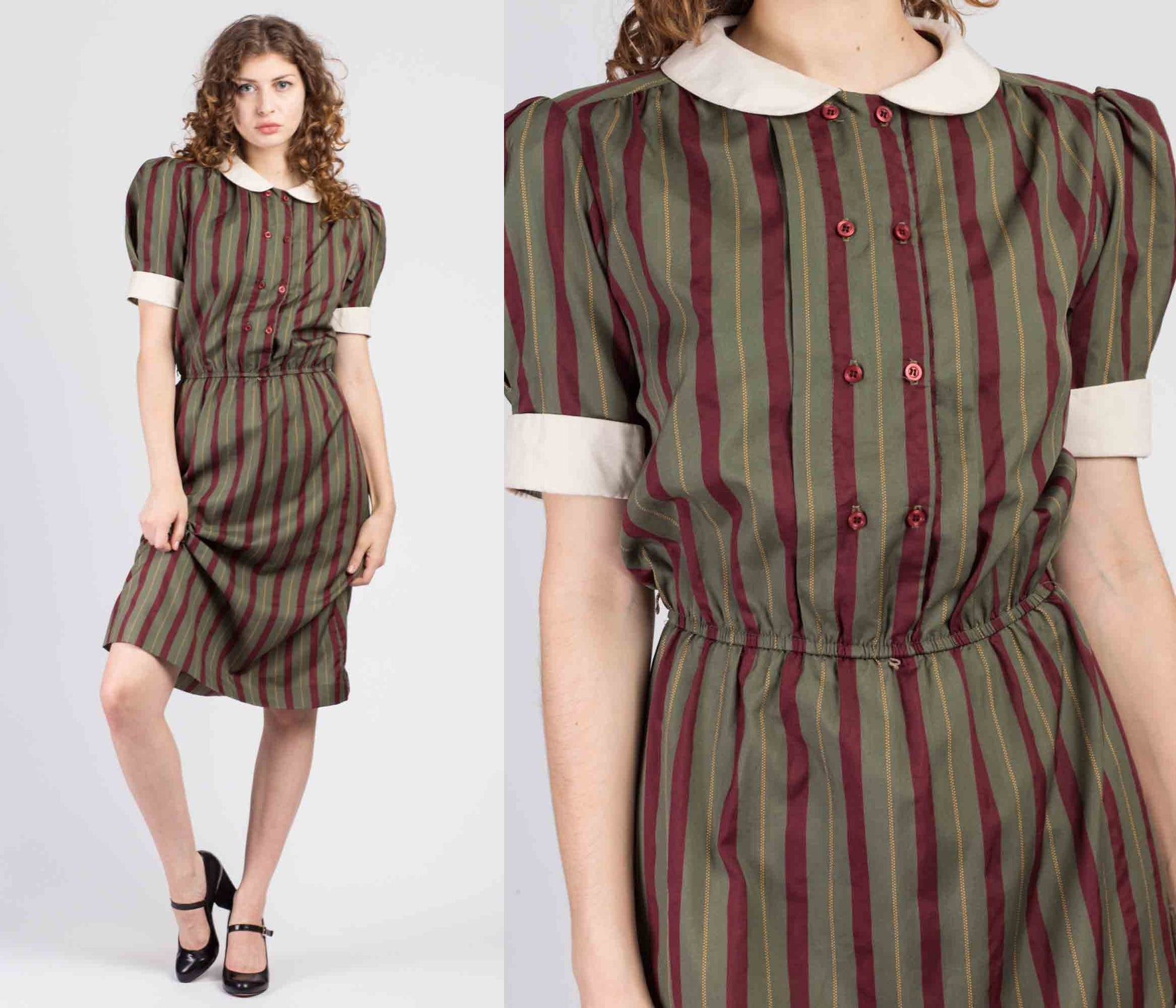 80s Striped Peter Pan Collar Dress - Medium