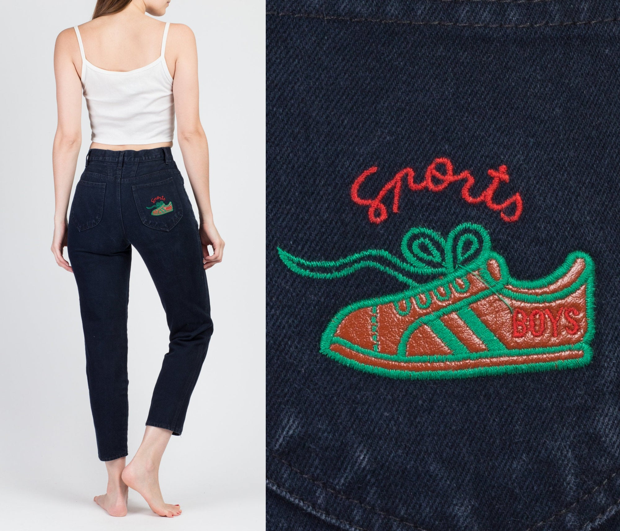 "90s ""Sports Boys"" High Waist Jeans - Small"