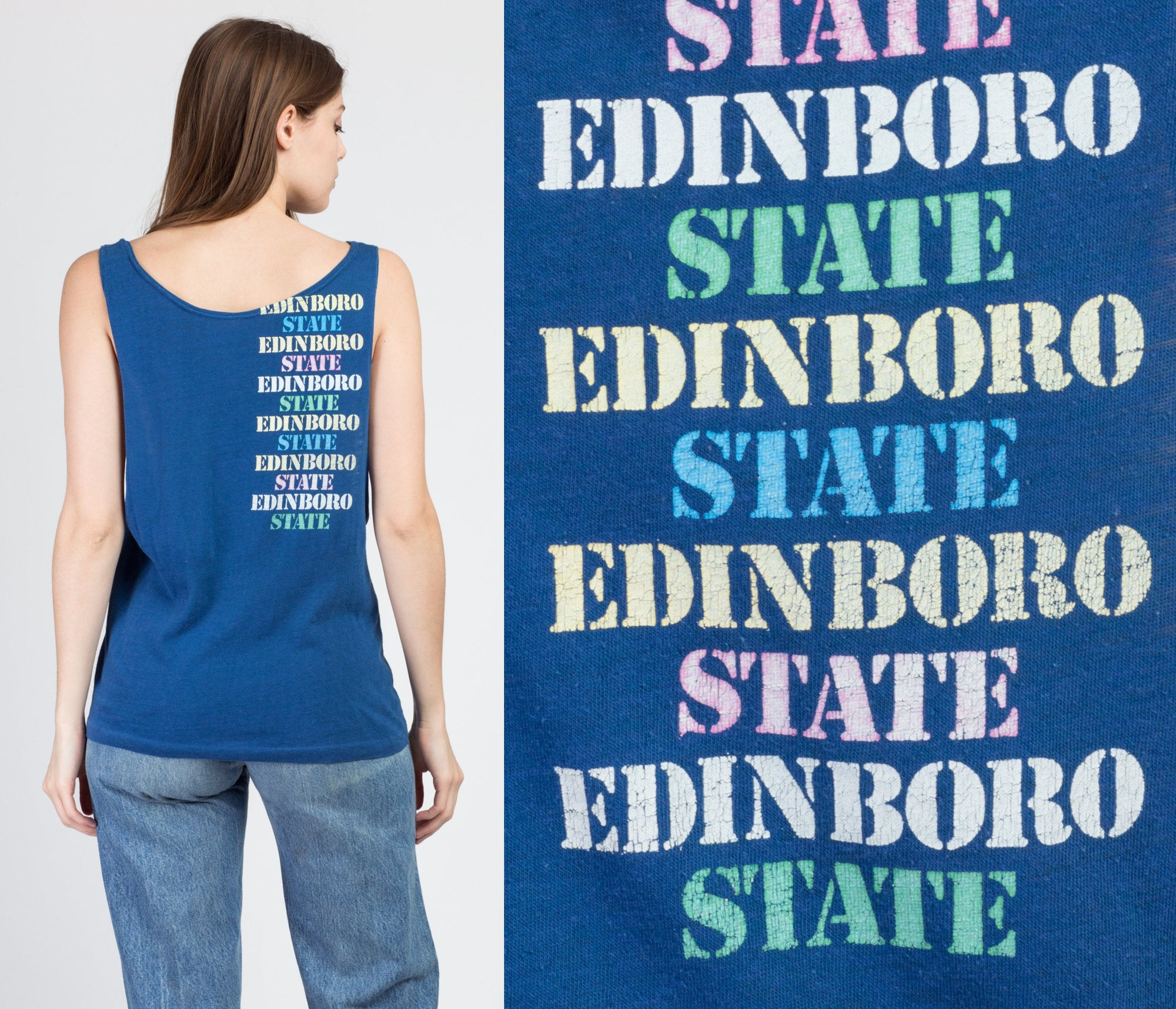 80s Edinboro State College Muscle Tank - Medium