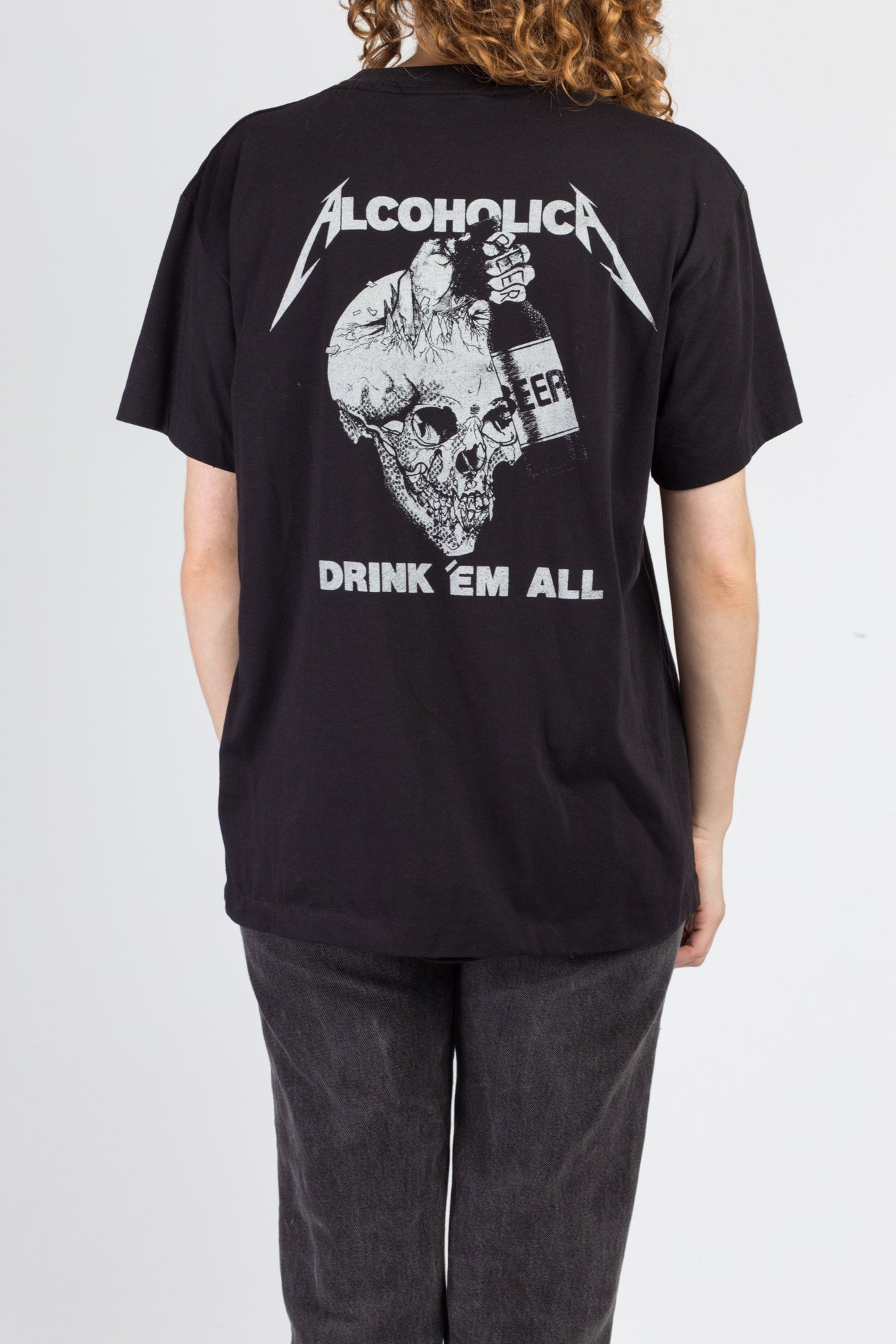 1989 Metallica And Justice For All Alcoholica T Shirt - Men's Large