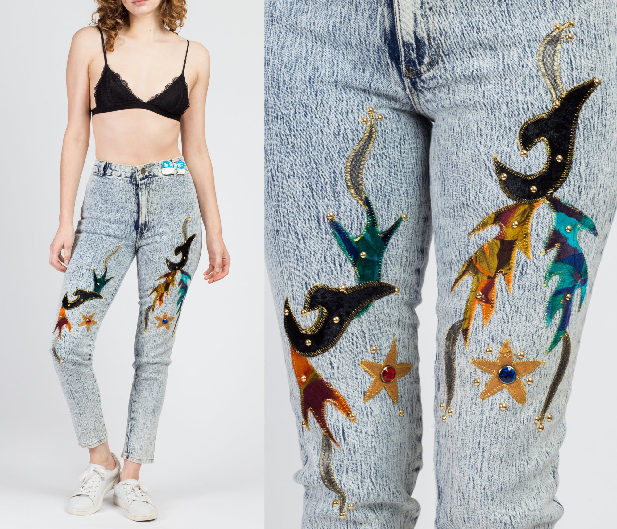 80s Acid Wash Studded Applique Jeans - XS to Small
