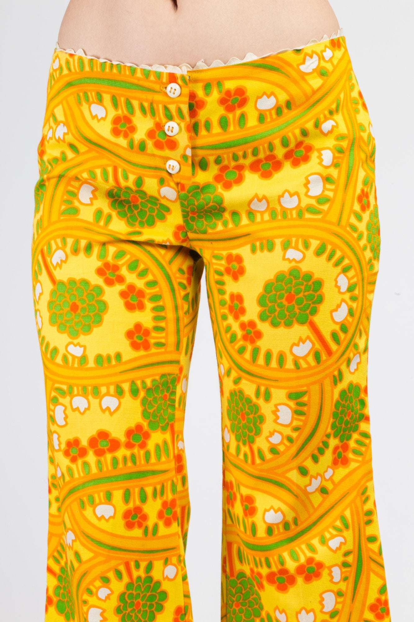 70s Lanz Psychedelic Yellow Flared Pants - Medium