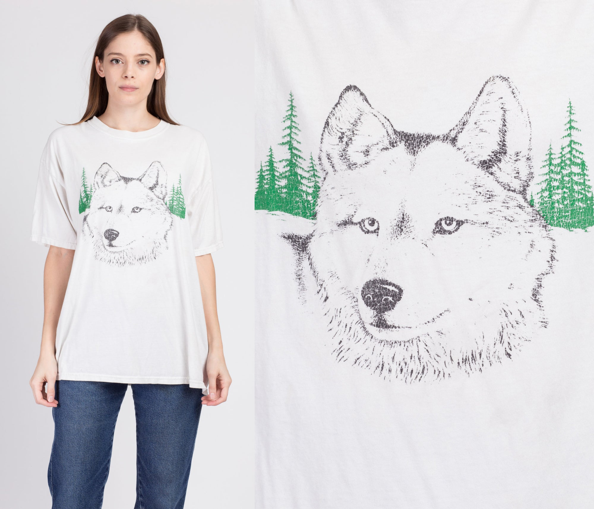 90s Wolf T Shirt - Men's XL