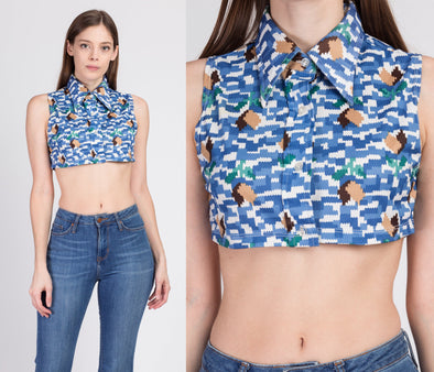 70s Mod Collared Crop Top - XS to Small