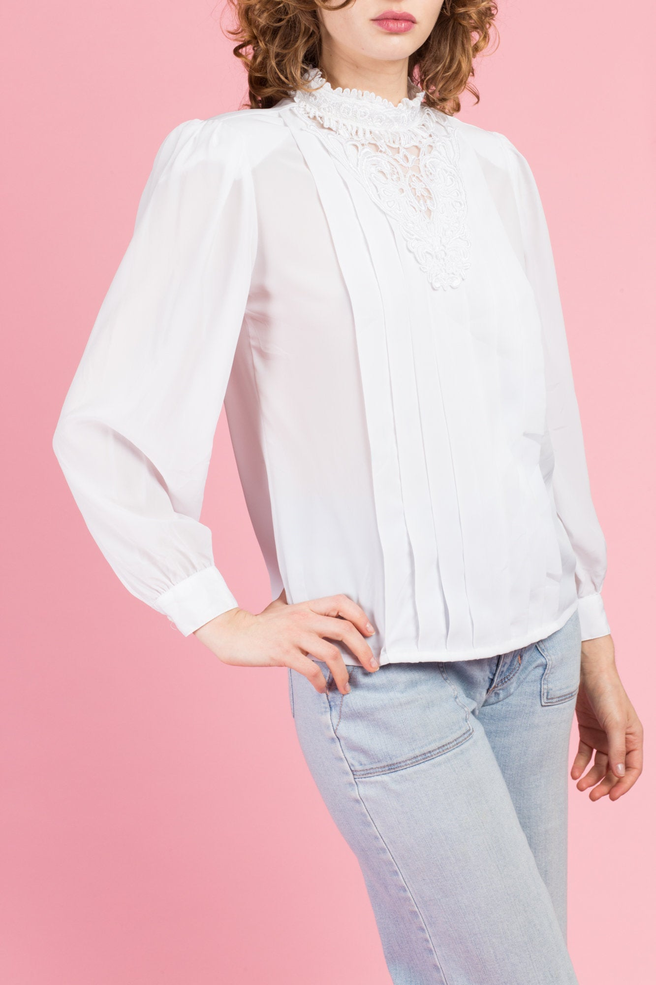 80s White Pleated Blouse - Medium