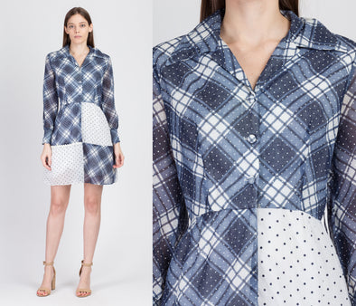 60s 70s Blue & White Plaid Polka Dot Mini Dress - Small