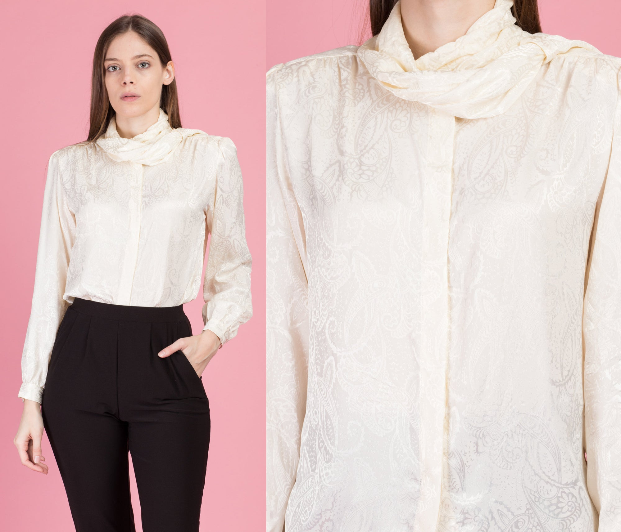 80s Ivory Jacquard Satin Blouse - Medium