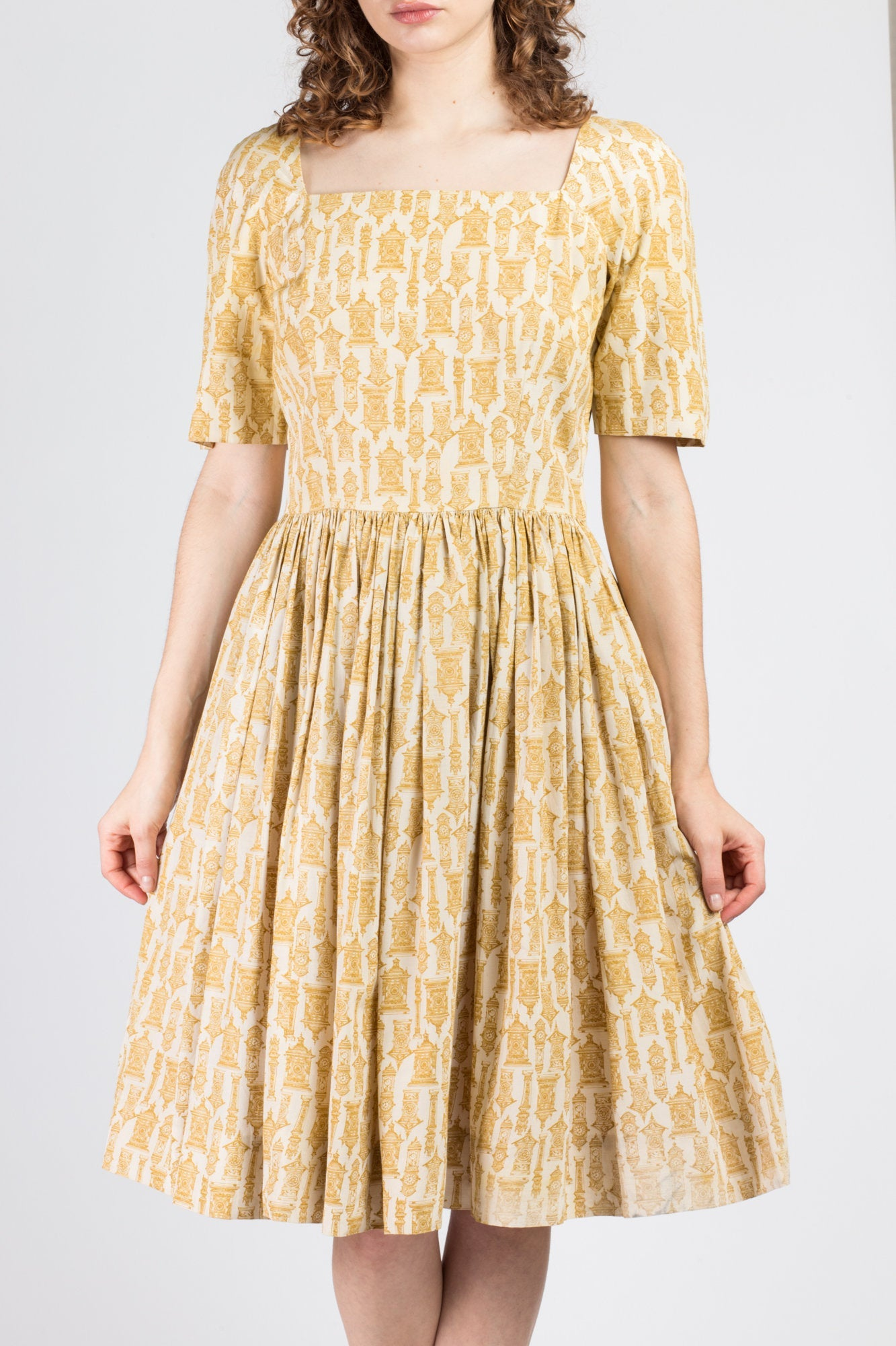 40s 50s Clock Print Knee Length Dress - Medium