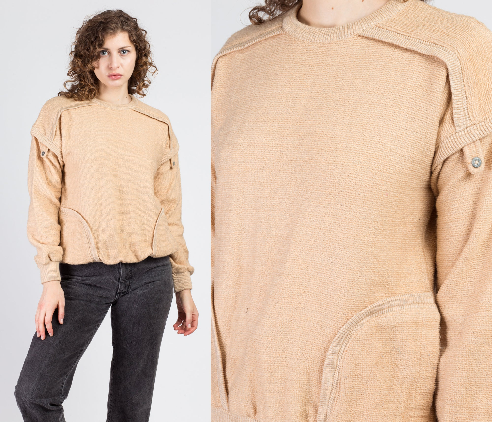 80s Tan Knit Pocket Sweater - Small to Medium