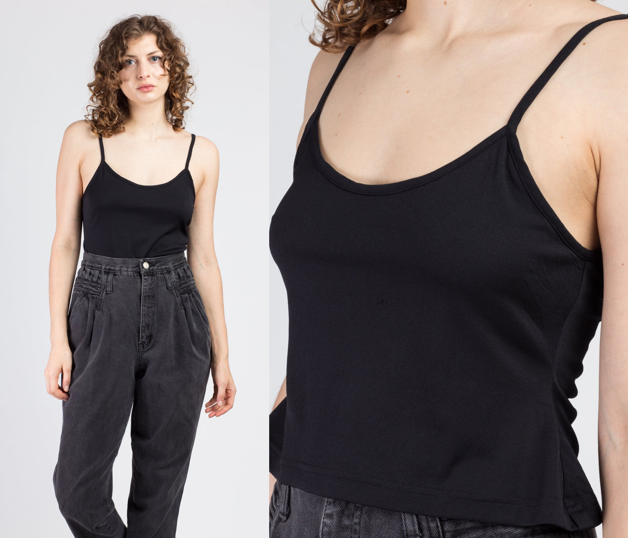 Vintage Black Crop Top - Medium to Large