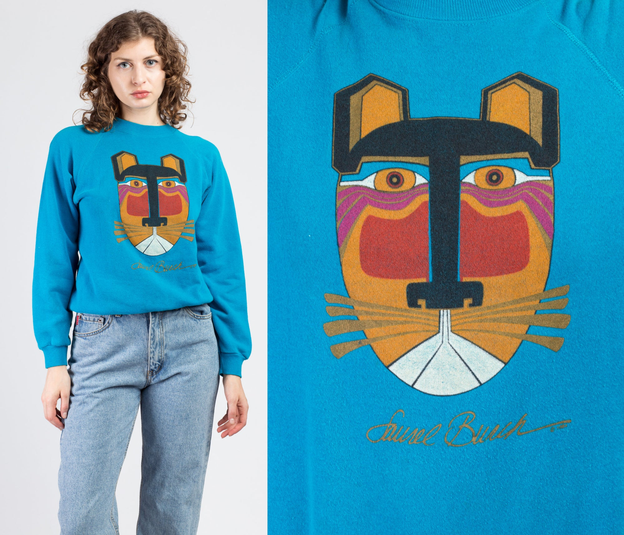 90s Blue Laurel Burch Cat Sweatshirt - Medium