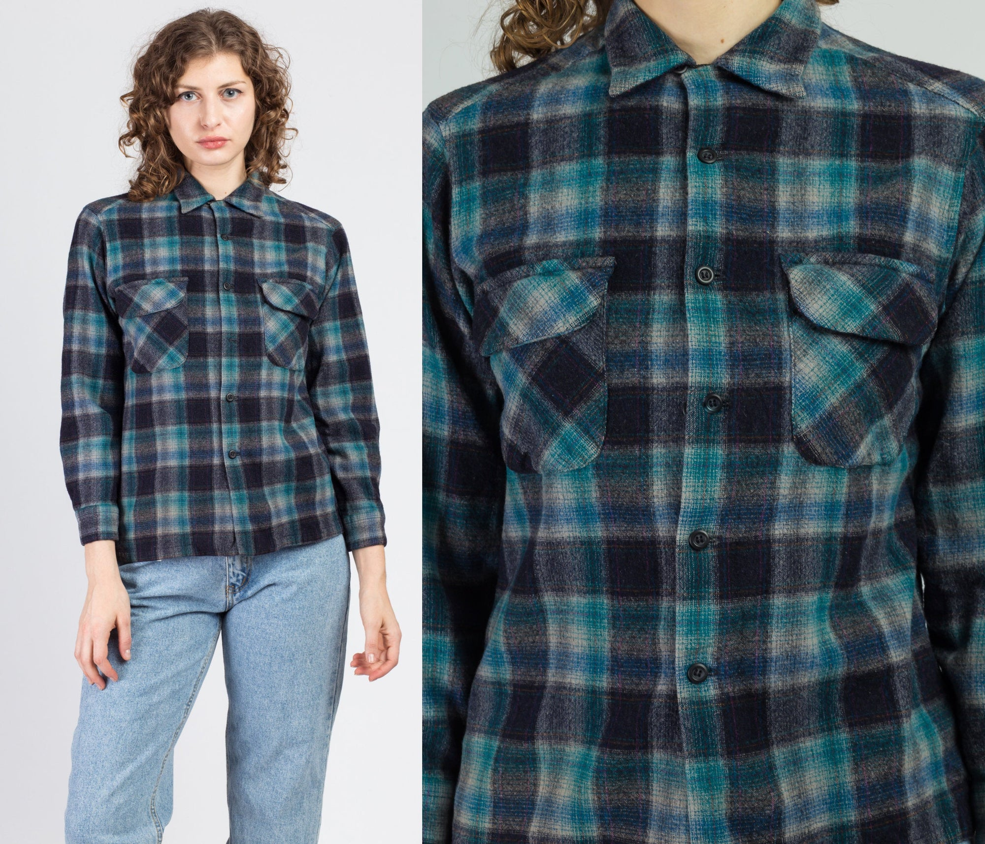Vintage Blue Pendleton Plaid Wool Shirt - Extra Small