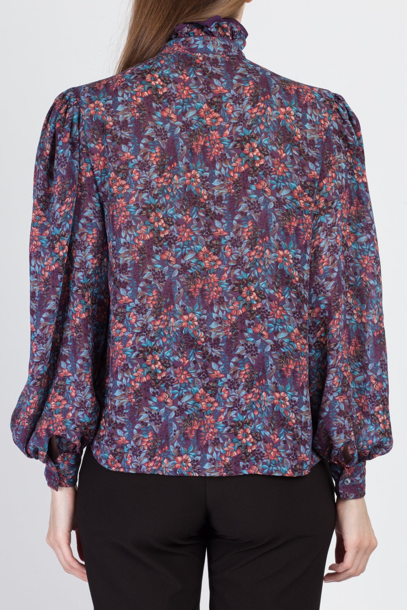 80s Floral Balloon Sleeve Blouse - Medium