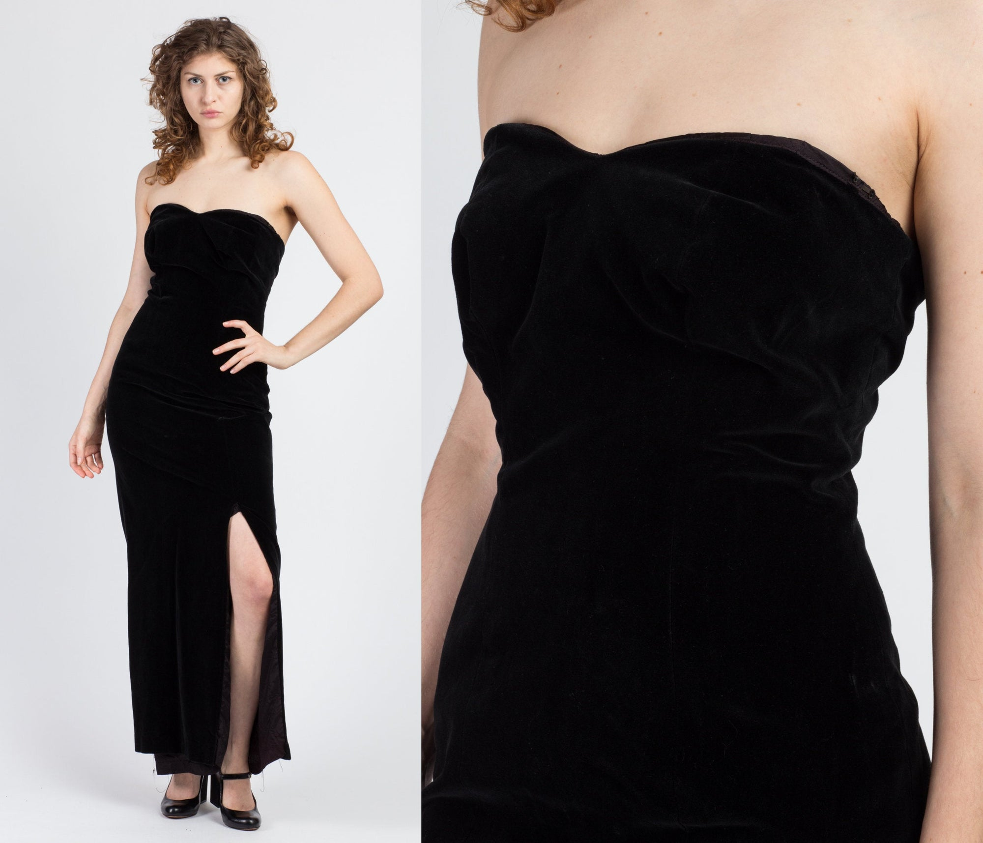 90s Black Velvet High Slit Maxi Dress - Medium