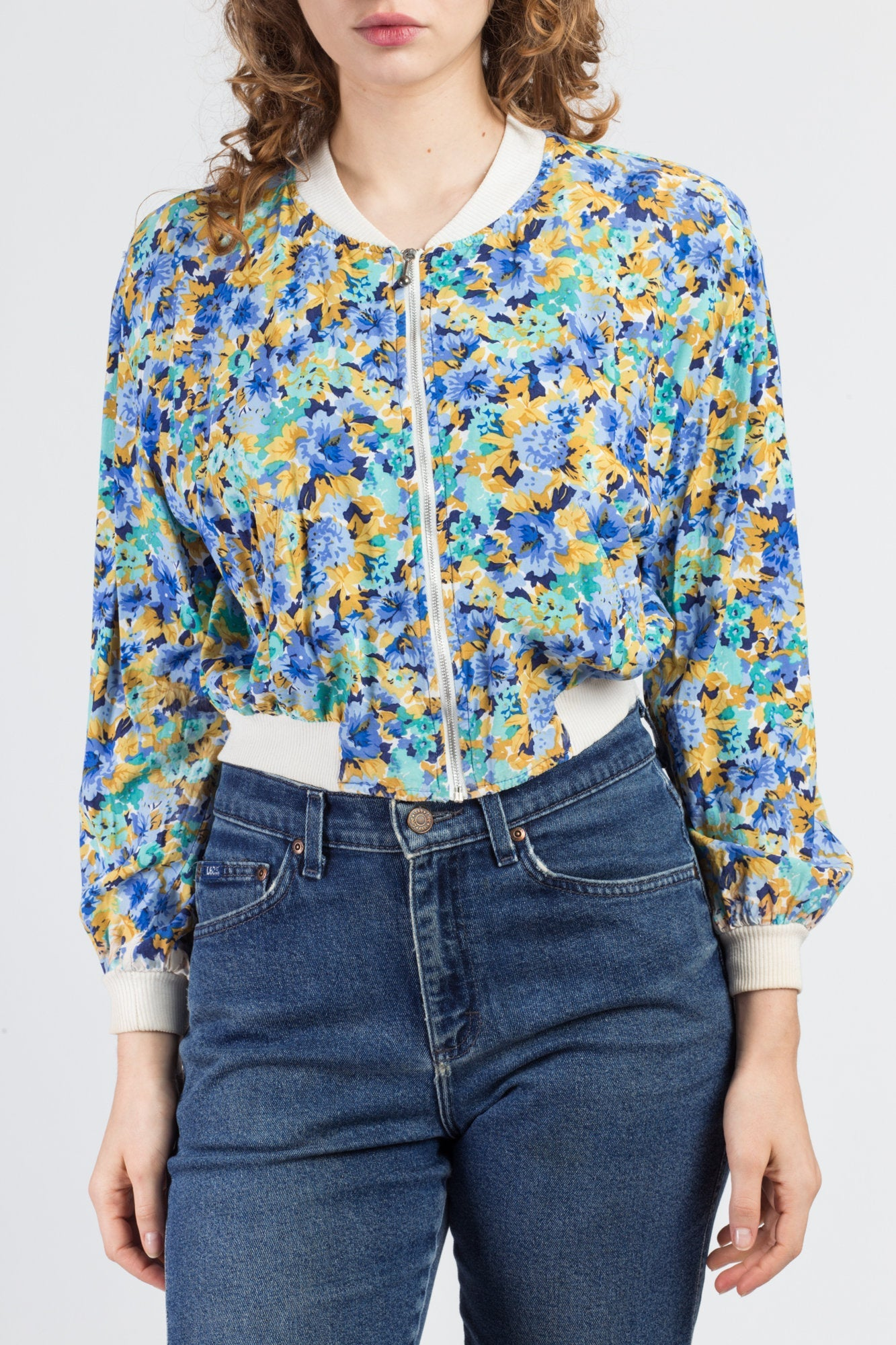 90s Cropped Floral Jacket - Small