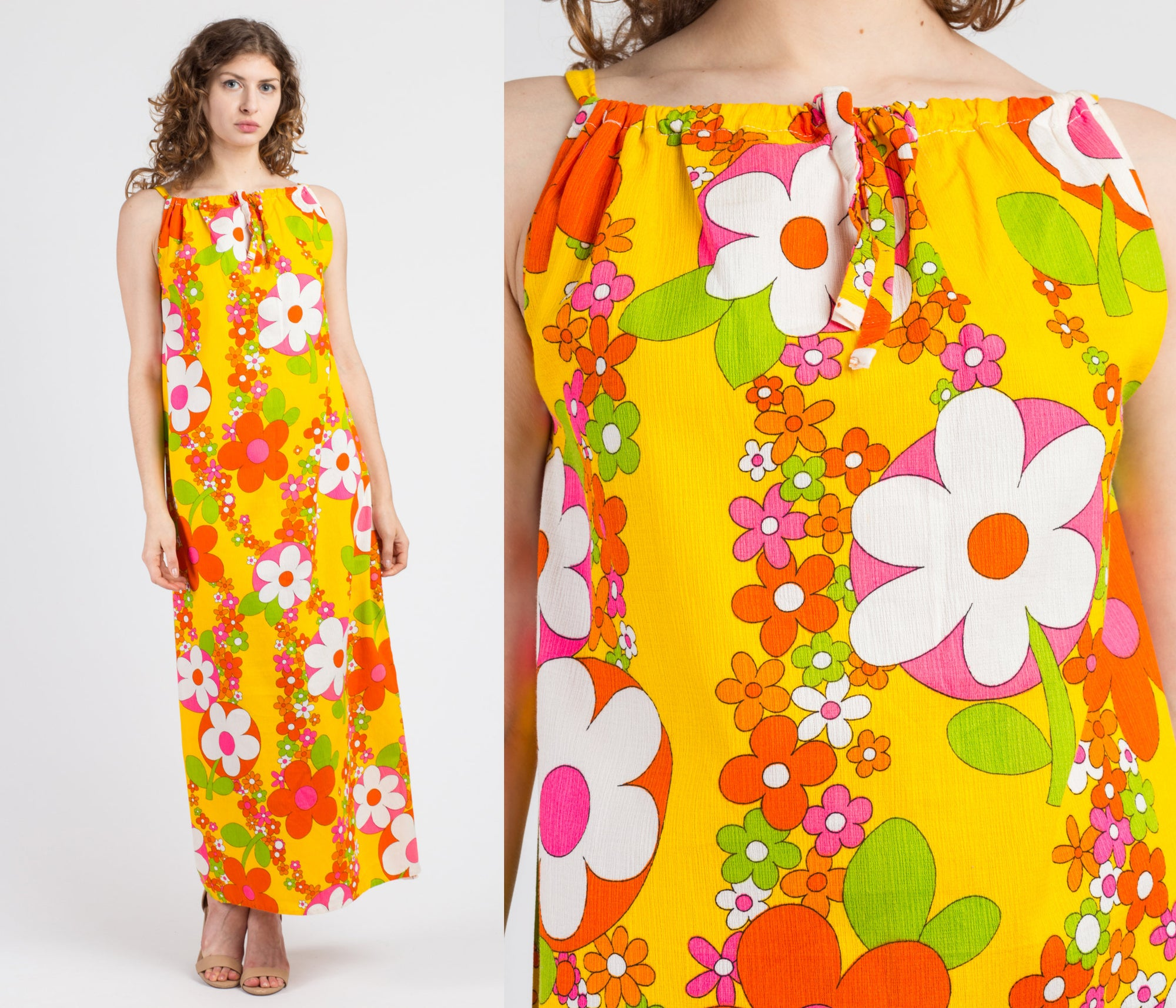 60s 70s Hawaiian Floral Maxi Sundress - Medium