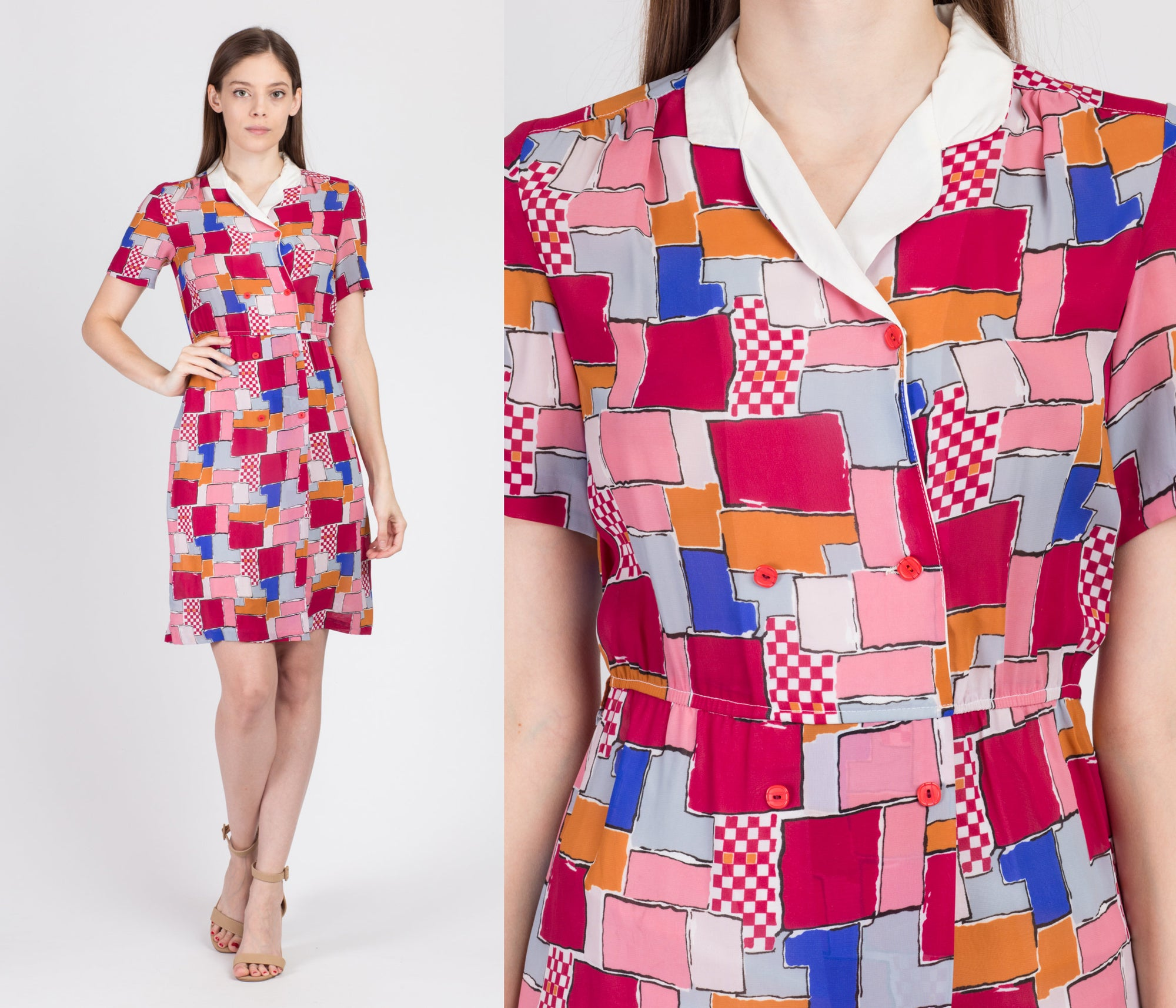 80s Pink & Red Contrast Collar Mini Dress - Extra Small