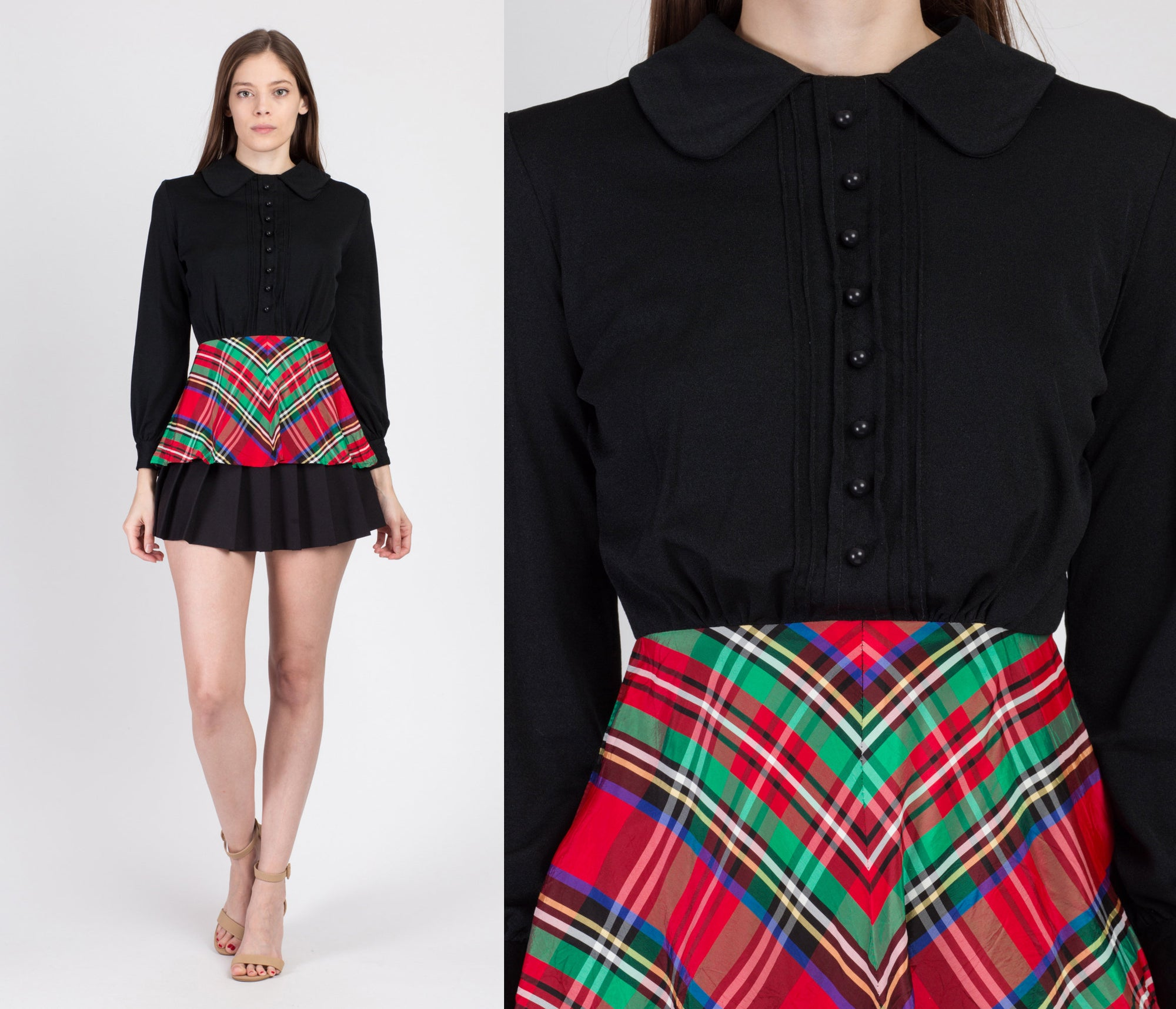 70s Black & Plaid Skirted Blouse - Extra Small