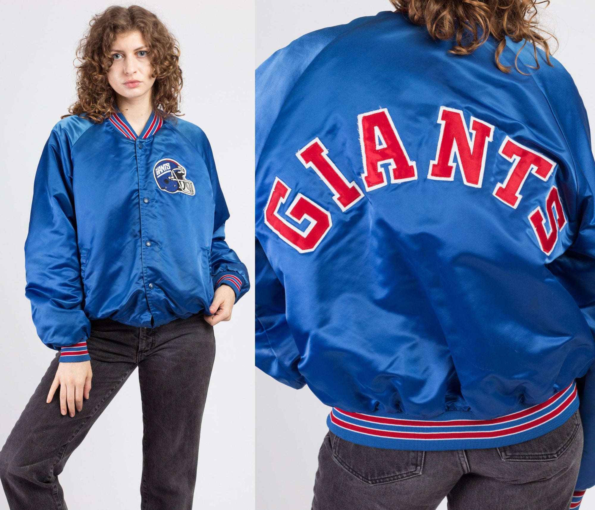 80s New York Giants Chalk Line Satin Jacket - Men's Large