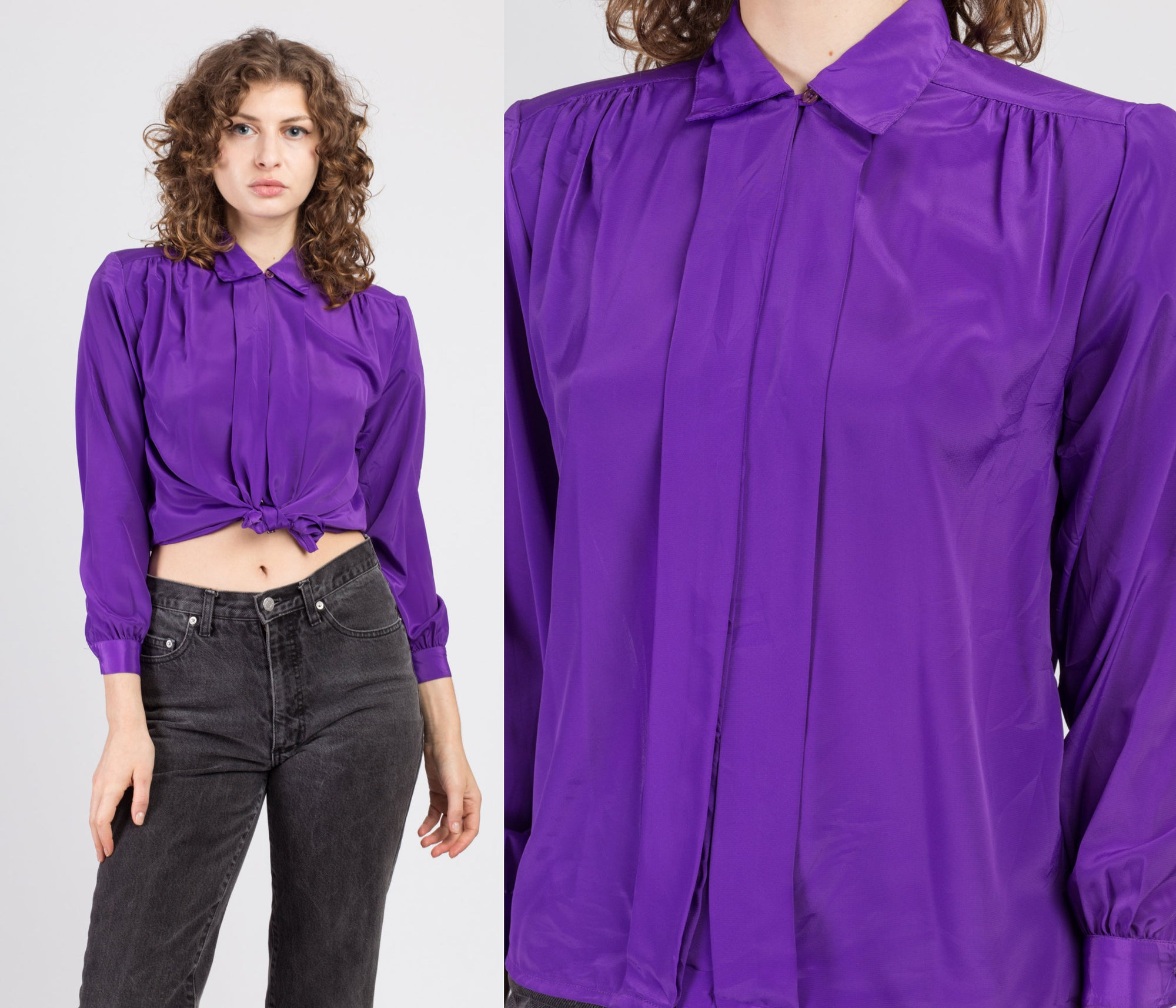 80s Purple Pleated Blouse - Petite Small
