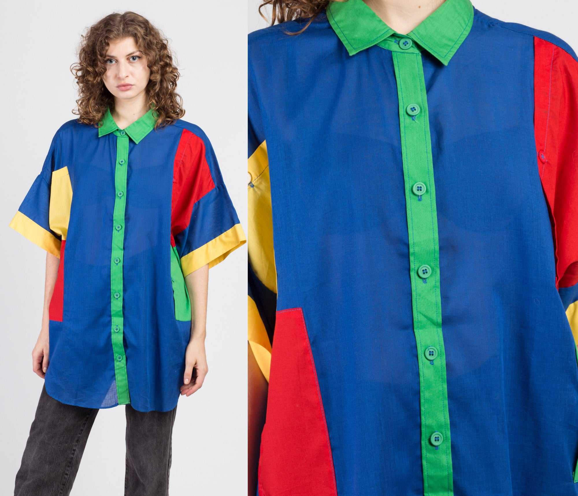 90s Primary Color Oversized Button Up Shirt - Mens 2XL