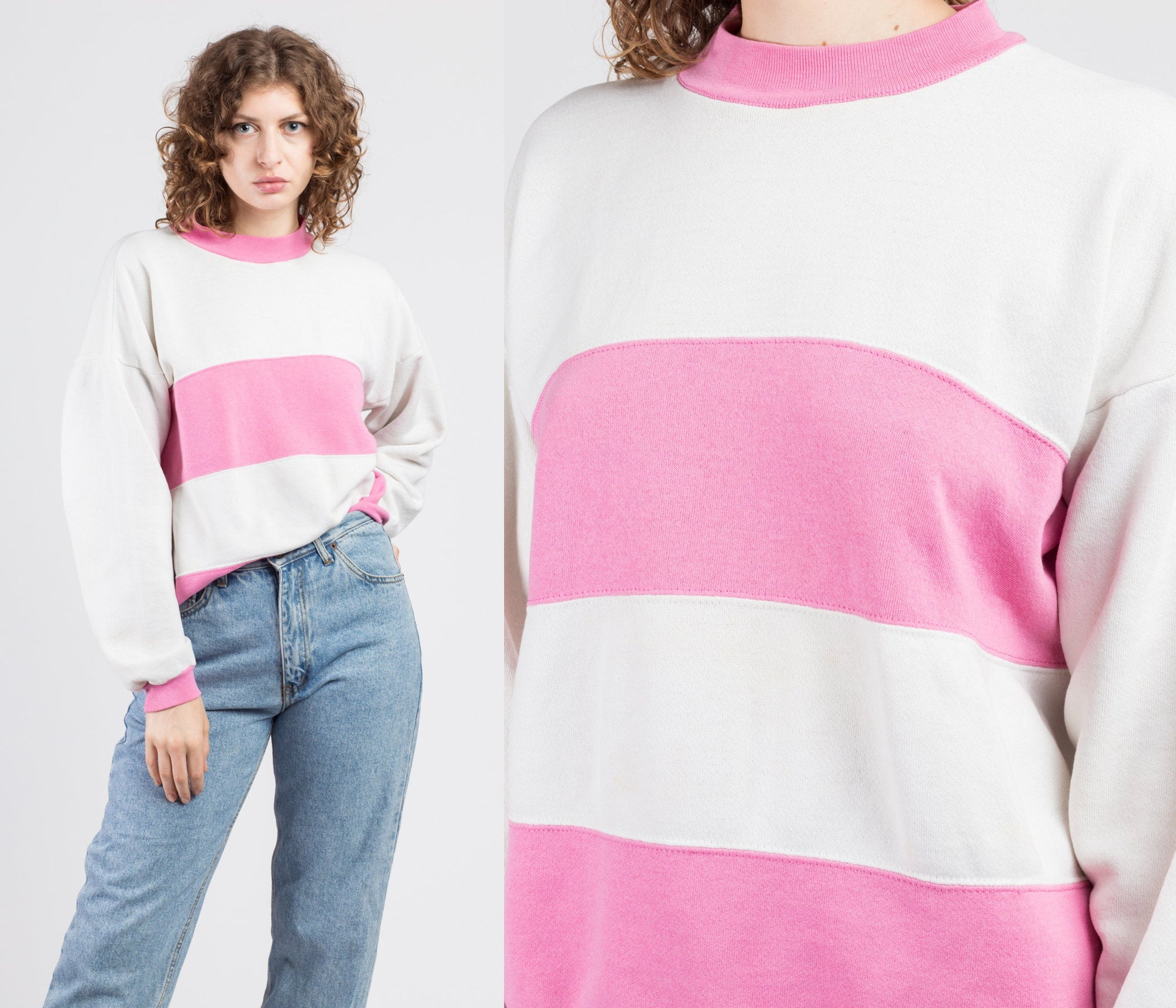 90s Pink & White Striped Sweatshirt - Extra Large