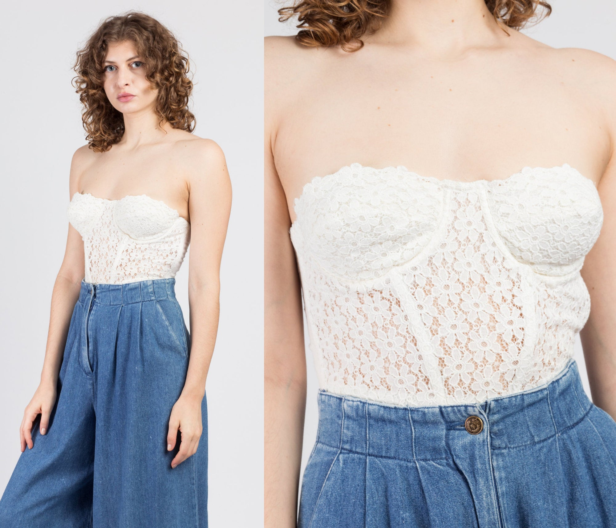 70s 80s White Floral Bustier - 36B