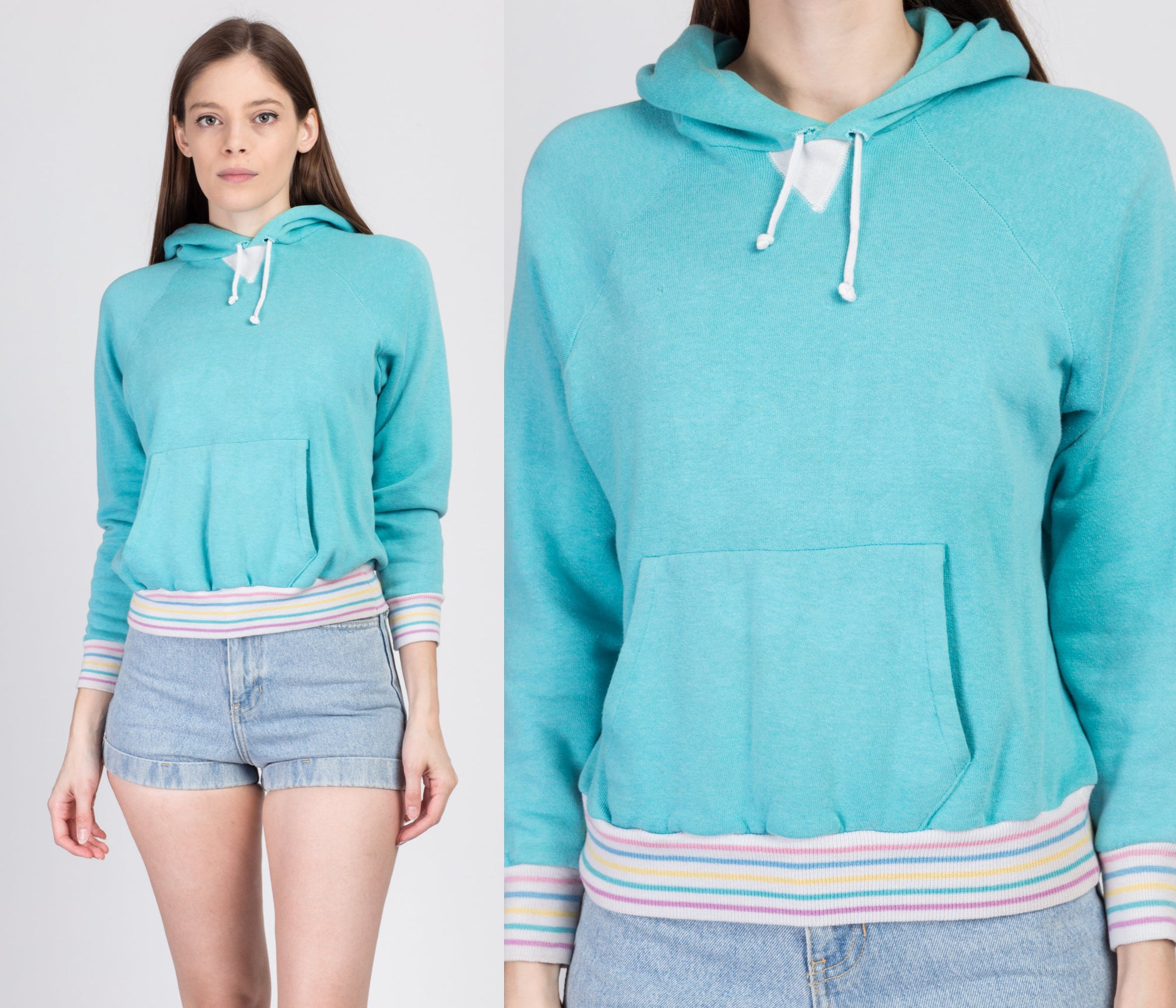 80s Blue Rainbow Trim Hoodie - Small
