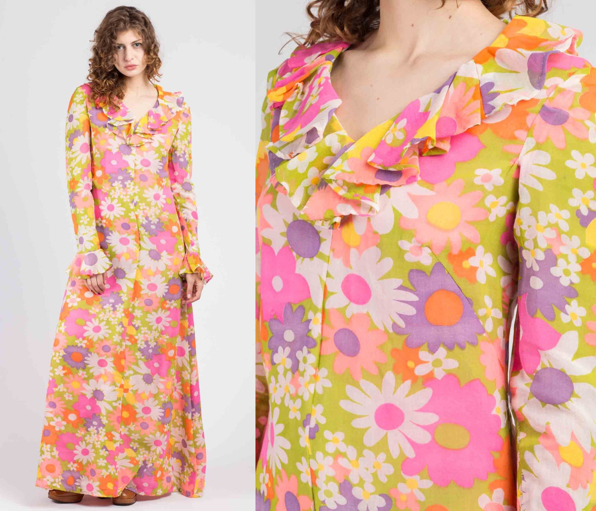 70s Colorful Flower Power Maxi Dress - Medium