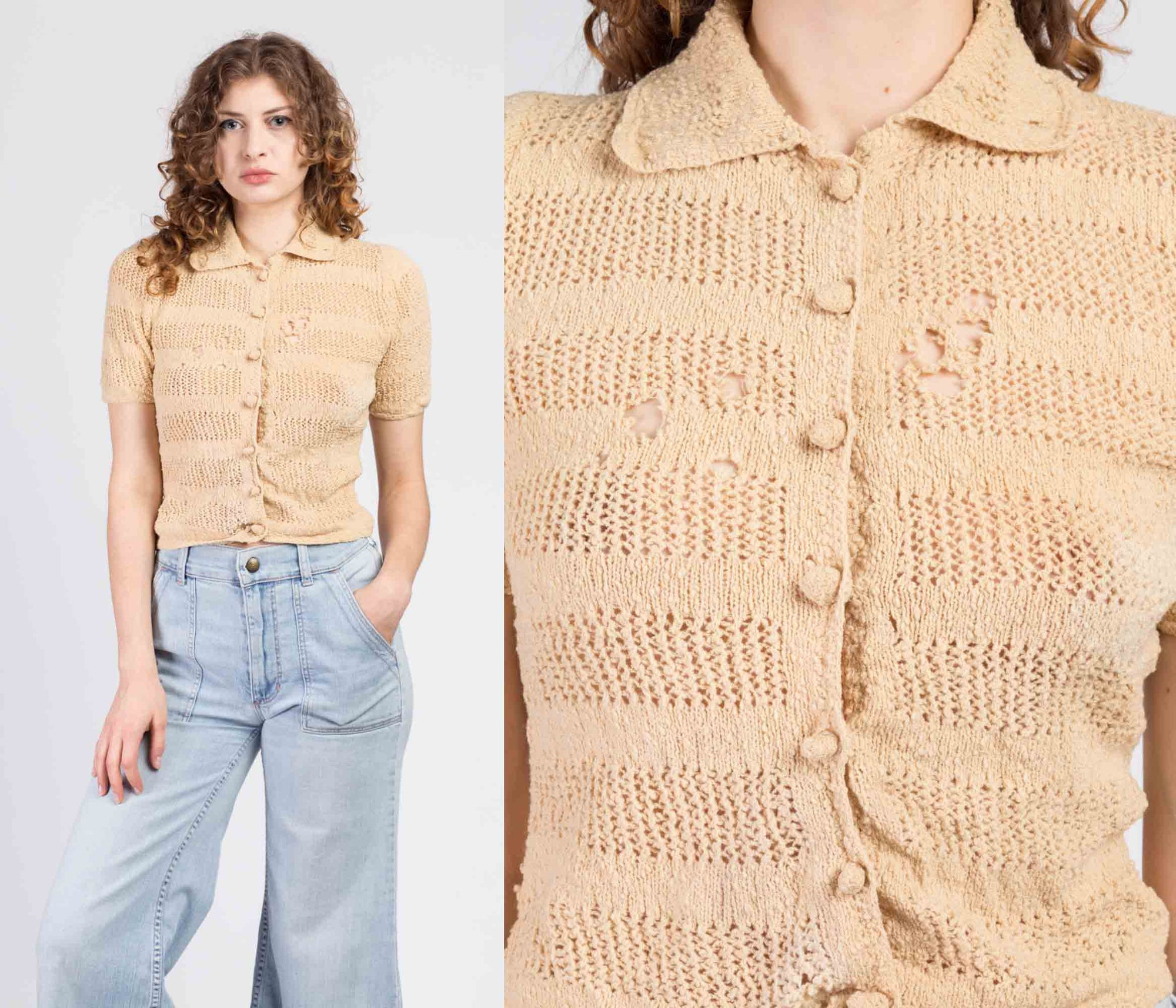 1940s Button Up Knit Blouse - Extra Small to Small