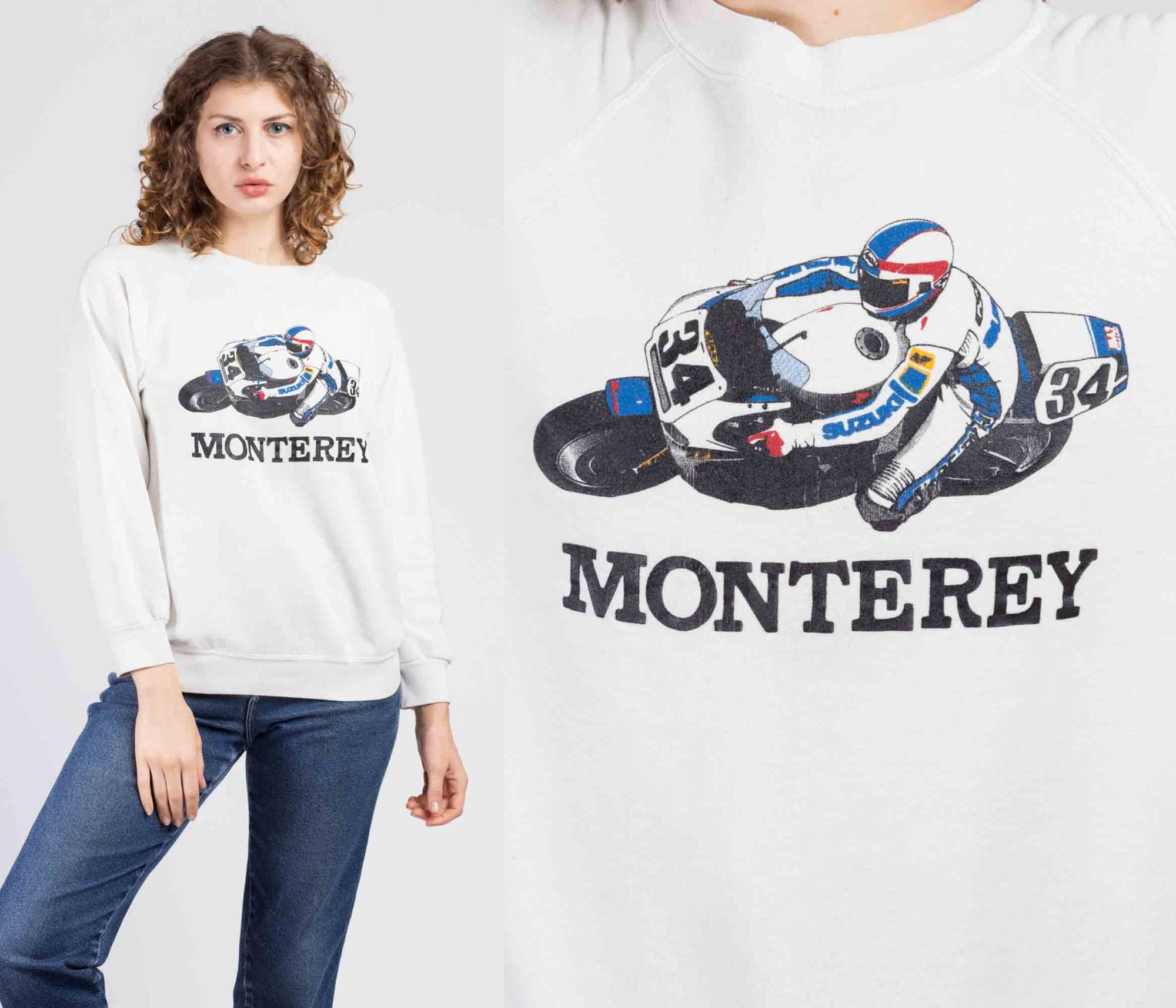 80s Monterey Motorcycle Racing Graphic Sweatshirt - Large