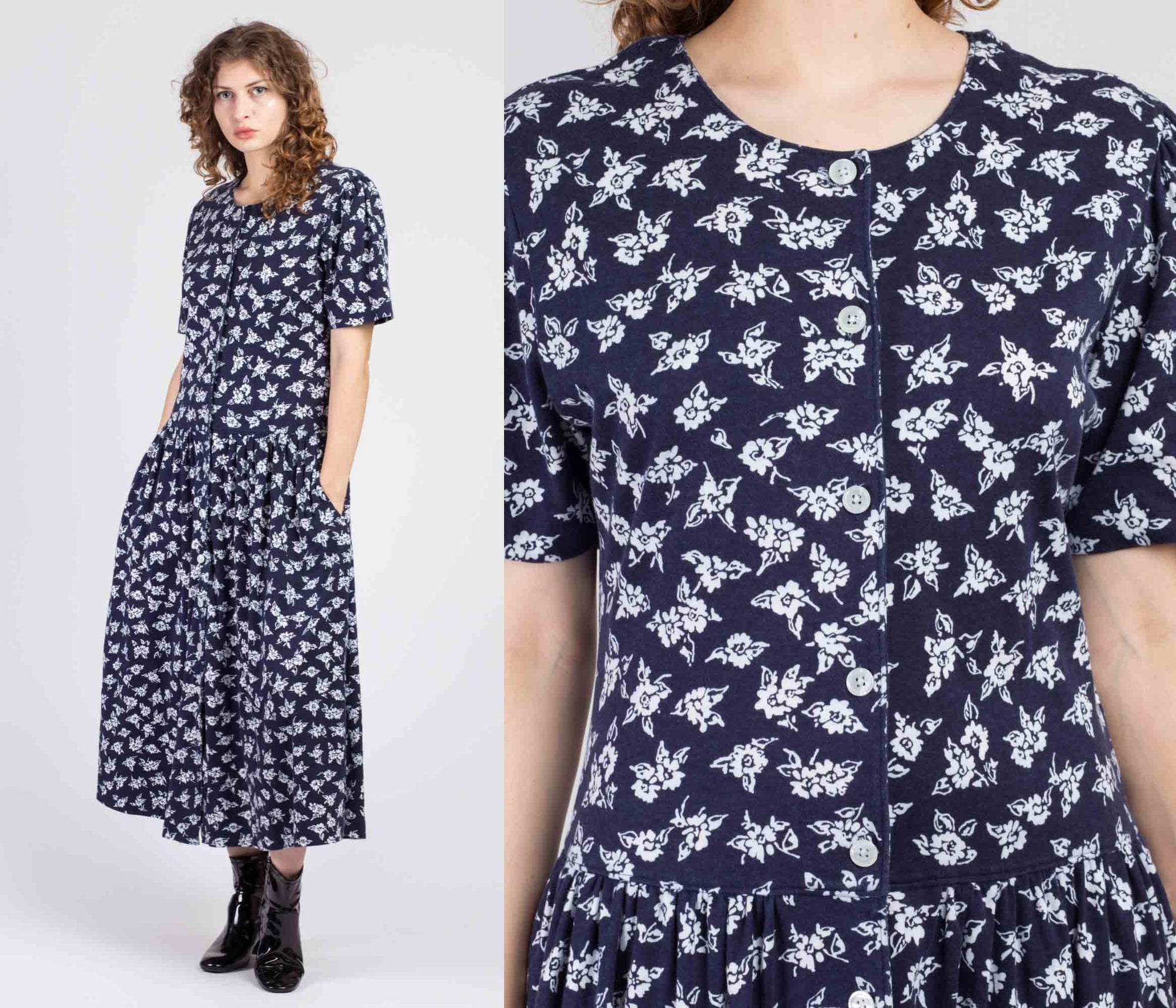 80s Navy Blue & White Floral Maxi Dress - Large